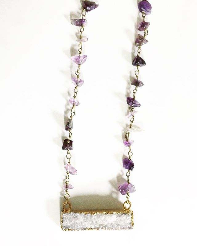 Amethyst + Druzy for days✨💜 • • • • #wirewrapping #jewelrymaker #shopsmall #girlboss #shopetsy #shoplocal #shopgal #etsydallas #makersmovement #mala #bossbabe #druzy #geode #crystalquartz #bohemian #mixedmetals #dallastx #dallasblogger #handmade #etsy #supportmakers #wire #copper