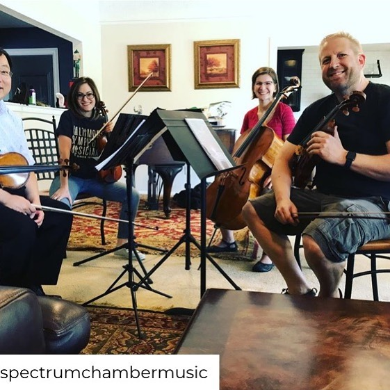Our first rehearsal of 'Flights of Fancy' by @composertillmeyn is underway! Michael, Molly, Keira, and Dan will see YOU on Oct 1 @ 7:30p at First Jefferson Unitarian  #spectrumchambermusic #worldpremiere #flightsoffancy #stringquartet