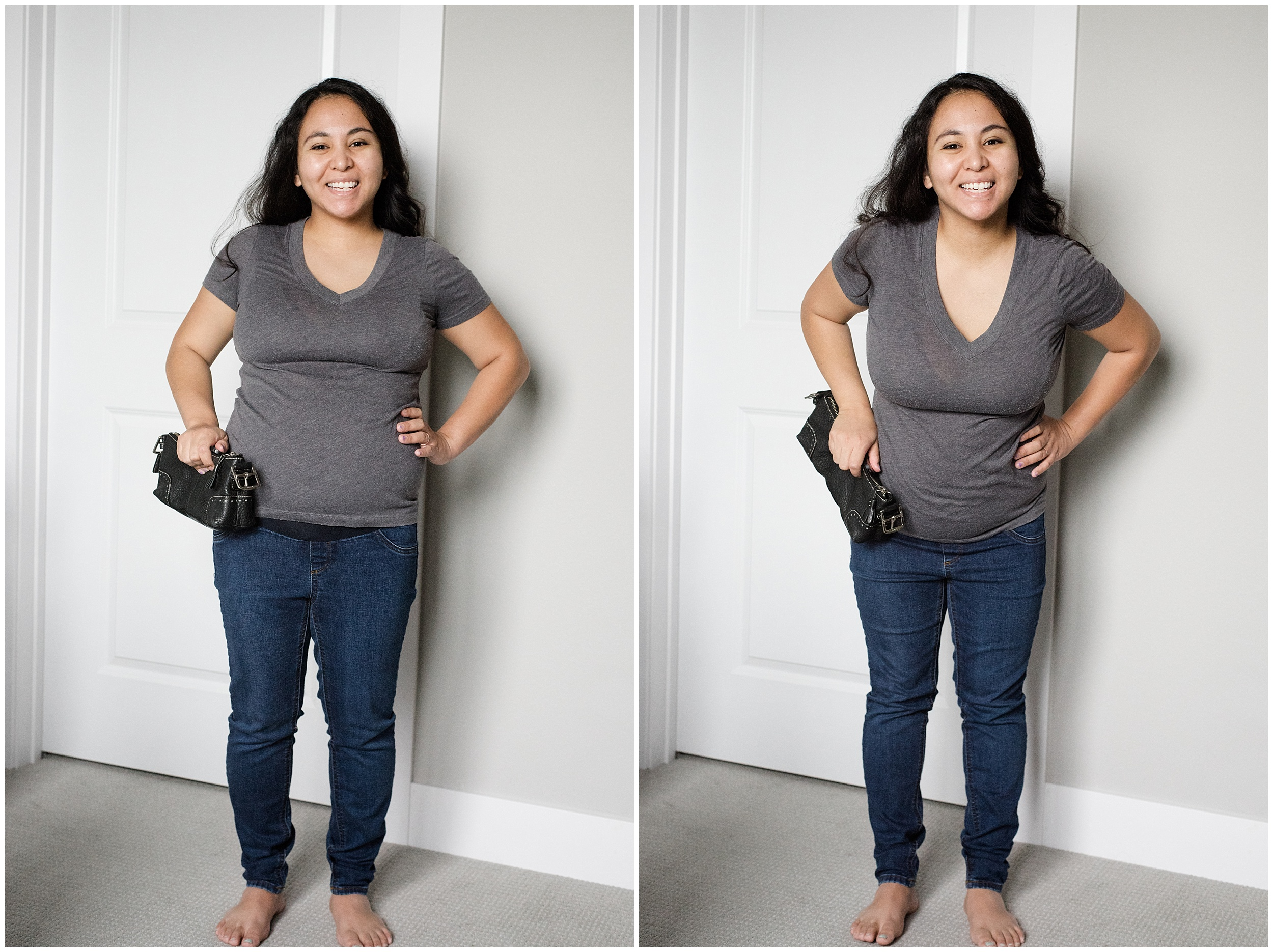 Left photo:I'm pushing my hips forward. Right photo: I'm bending my hips back away from the camera.