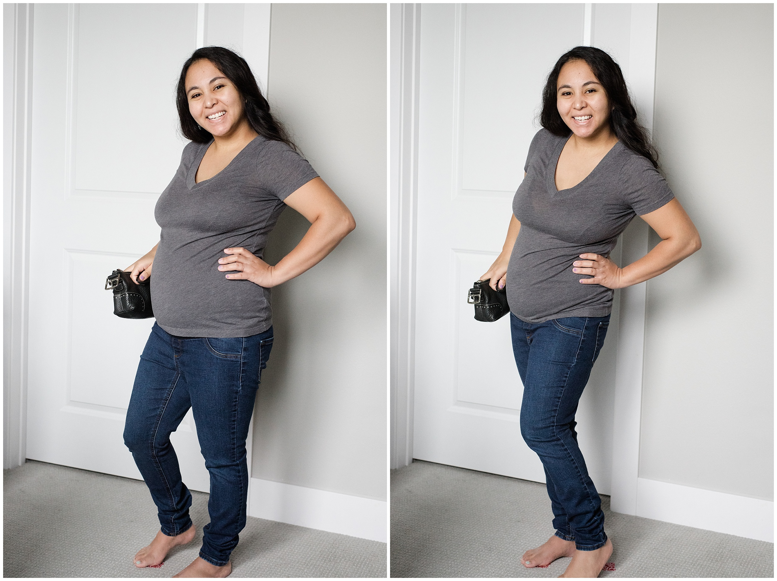 Left photo: My body weight is on my front leg towards the camera. Right photo: My body weight is on my back leg away from the camera.