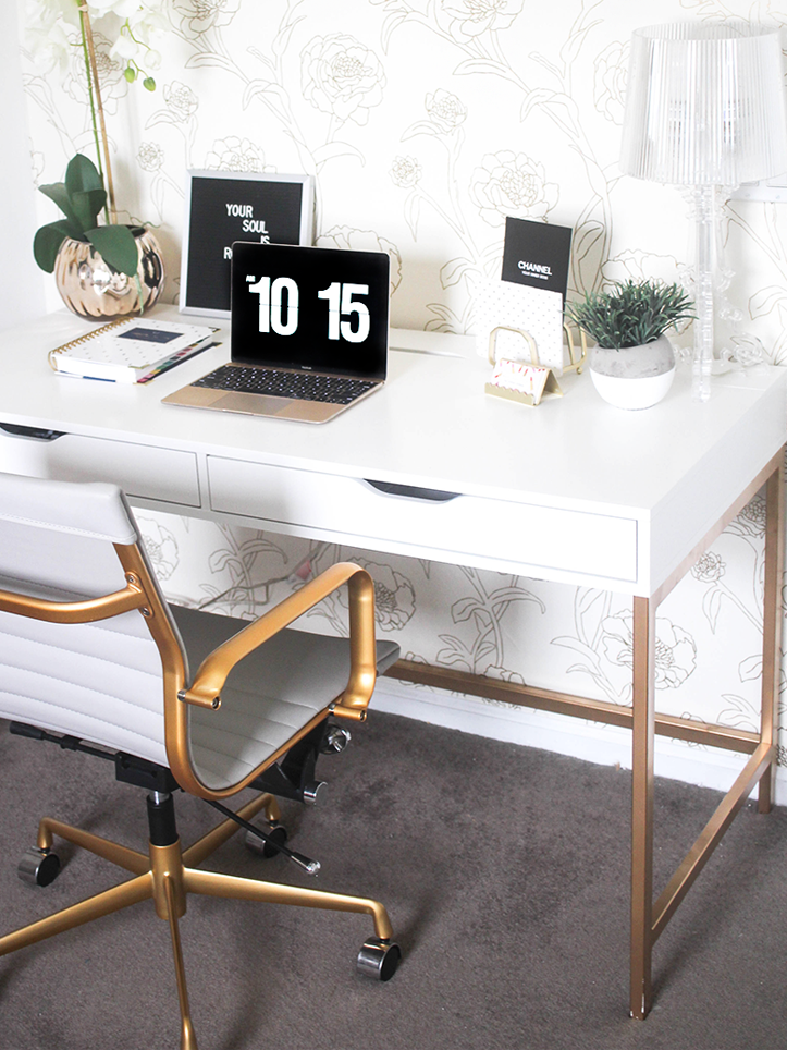 Gold and White Desk