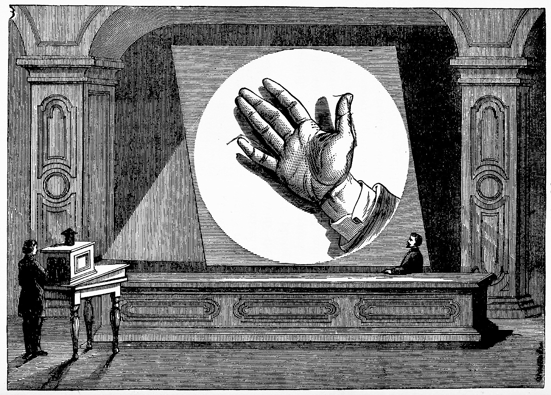 The Megascope, Fig. 24, in A. E. Dolbear: The Art of Projecting. A Manual of Experimentation in Physics, Chemistry, and Natural History with the Porte Lumière and Magic Lantern, 1877.