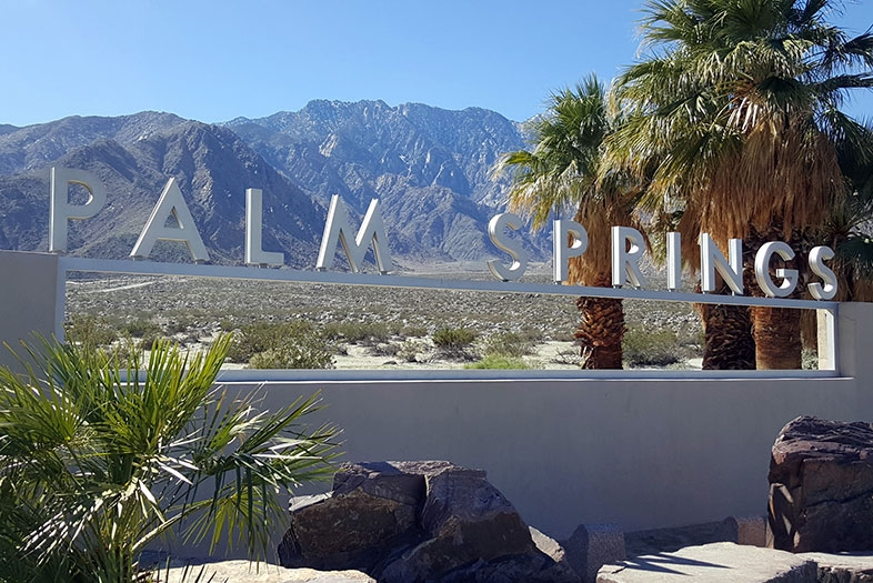 Palm Springs Sign with mountains in the background