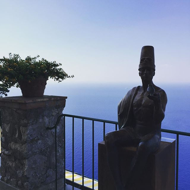 Sitting on top of the world on the ancient Isle of Capri. Incredible to think we're standing where Romans once lived. But one thing that hasn't changed is the perfection of the views across to the Bay of Naples. This is heaven on Earth.  @ceasaraugustushotel Anacapri