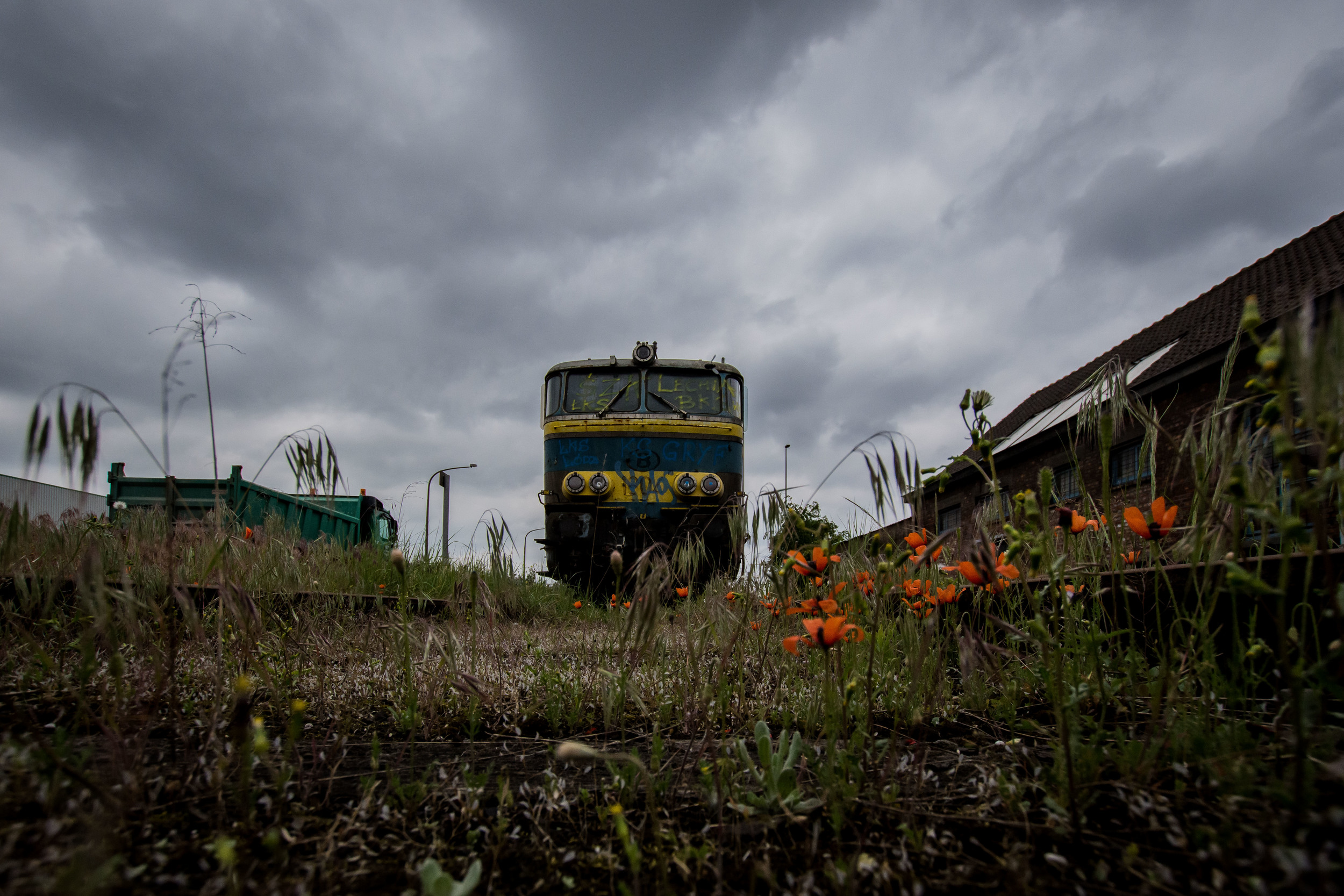 Viewfinder-vergane-glorie-uitgerangeerd-locomotief-gent-zeehaven-klaproos-spoor-roestend