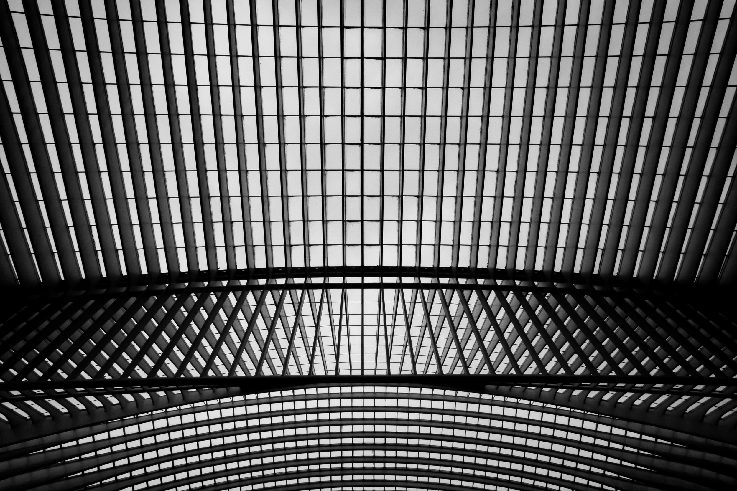 De wereld van onderen fotograferen is ook denken aan compositie. Lijnen komen daar goed aan te pas. Hier zie je het station Guillemins van Luik.