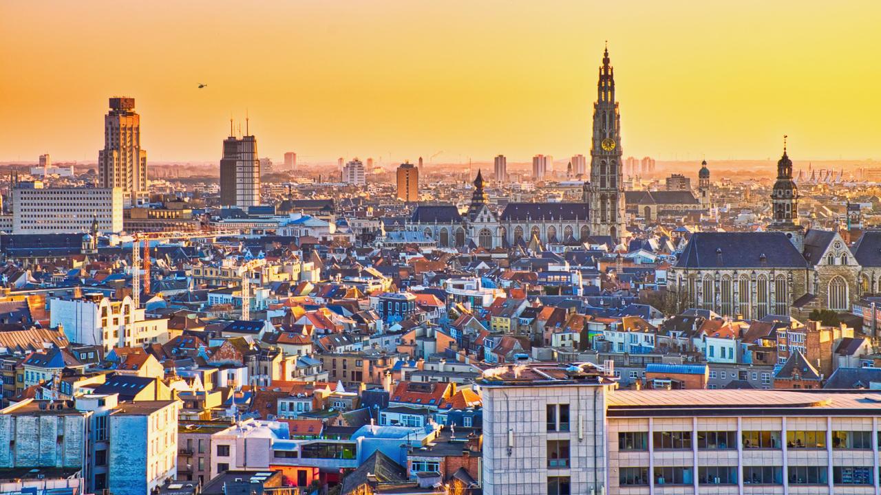 Cityscape van Antwerpen vanop het MAS