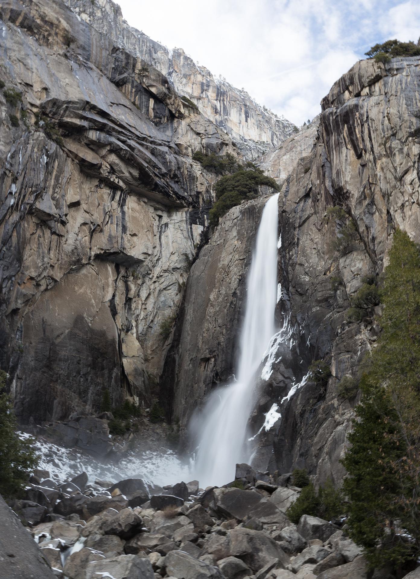 the national parks girl_lower yosemite falls_yosemite national park_long exposure_winter hike_canon6d.JPG