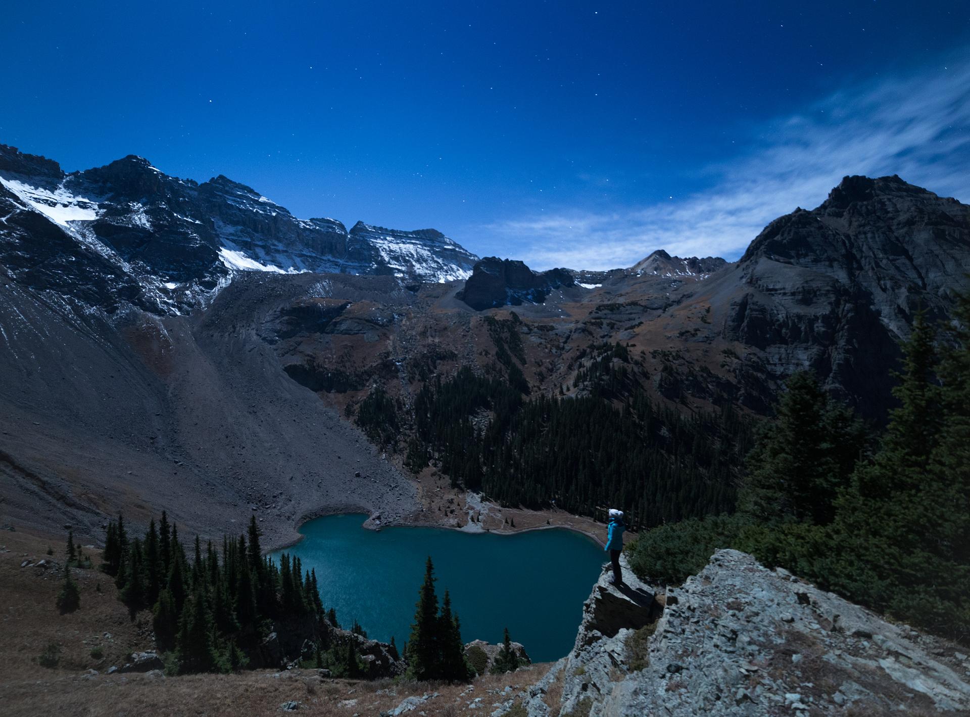 """f/4, ISO 1250, 8"""", Overlooking Lower Blue Lake, Mt. Sneffels Wilderness, 10/14/16, 2:00am."""