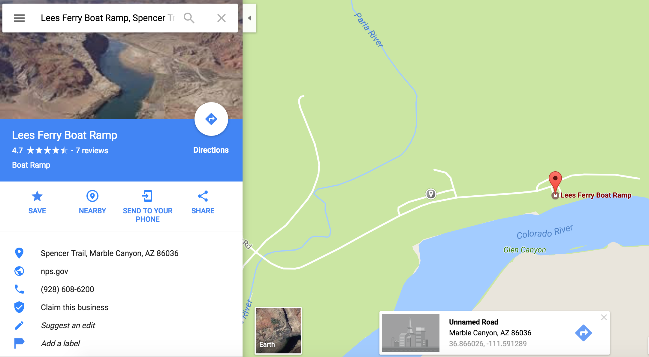 The overnight parking is the grey pin in the map. The nearest marker on Google is  Lee's Ferry Trailhead .