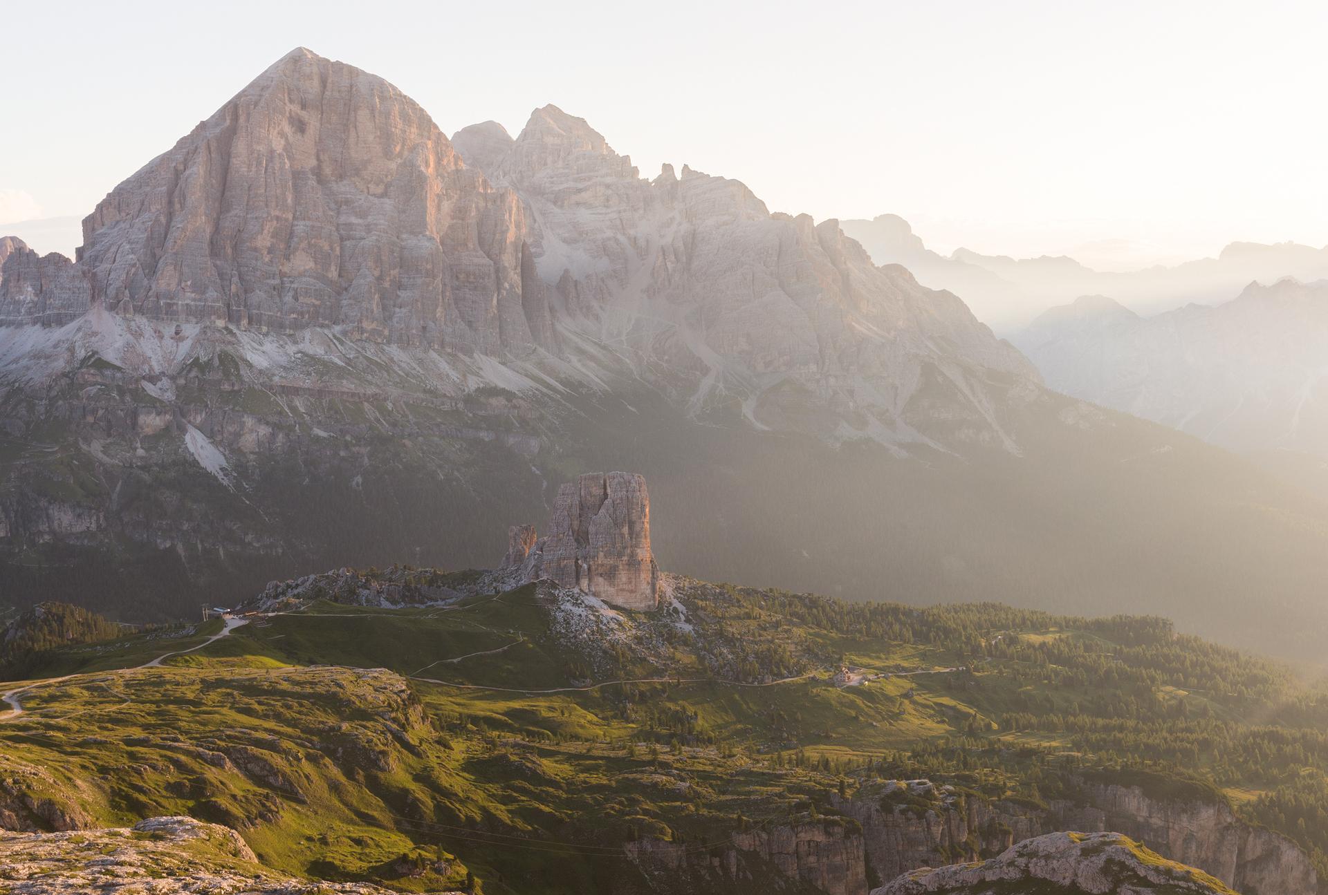 Cinque Torri seen from Rifugio Nuvolau at sunrise