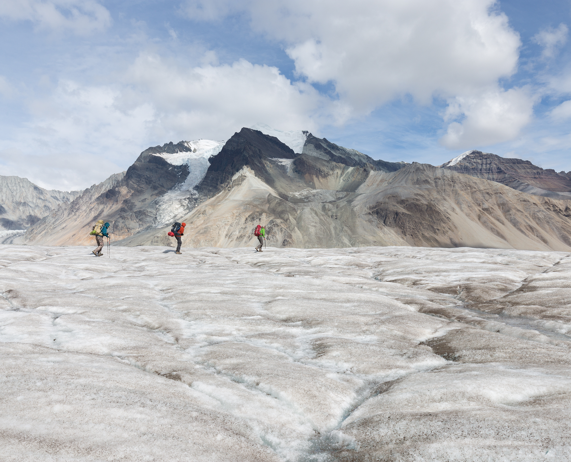 Crossing the Frederika Glacier with Frederika Peak in the background.