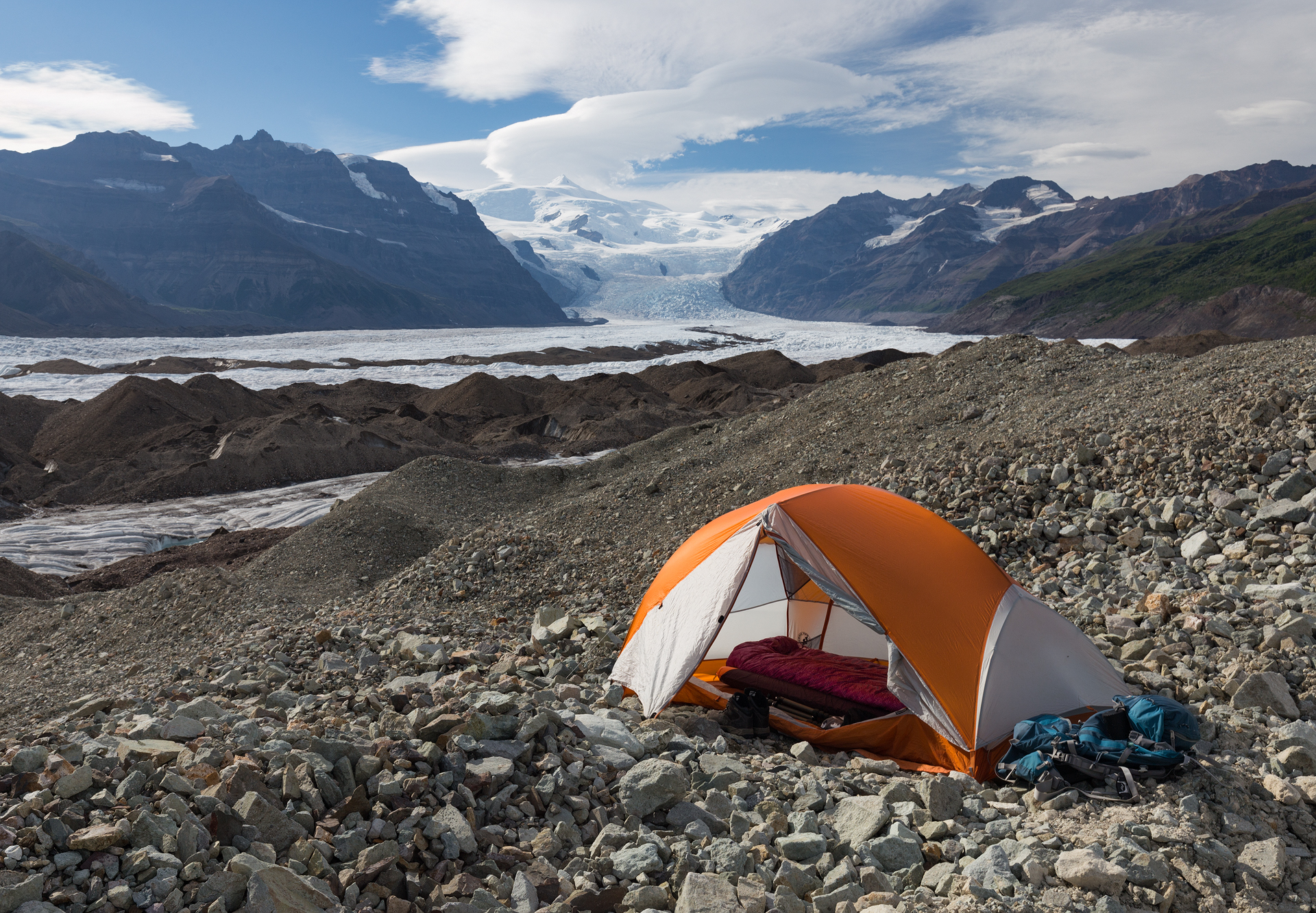 An example of terrain that requires an inflatable sleeping pad, yikes! (Wrangell-St. Elias National Park, August 2017)
