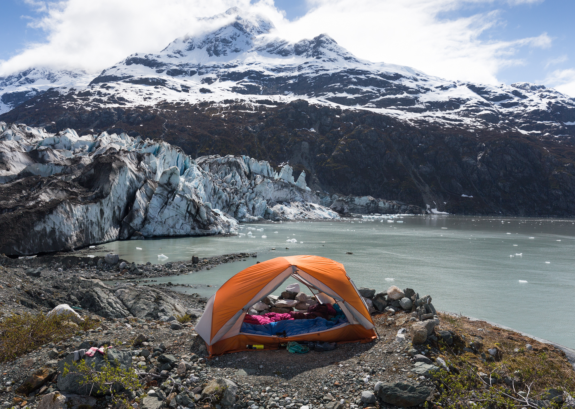 Camp at Lamplugh Glacier