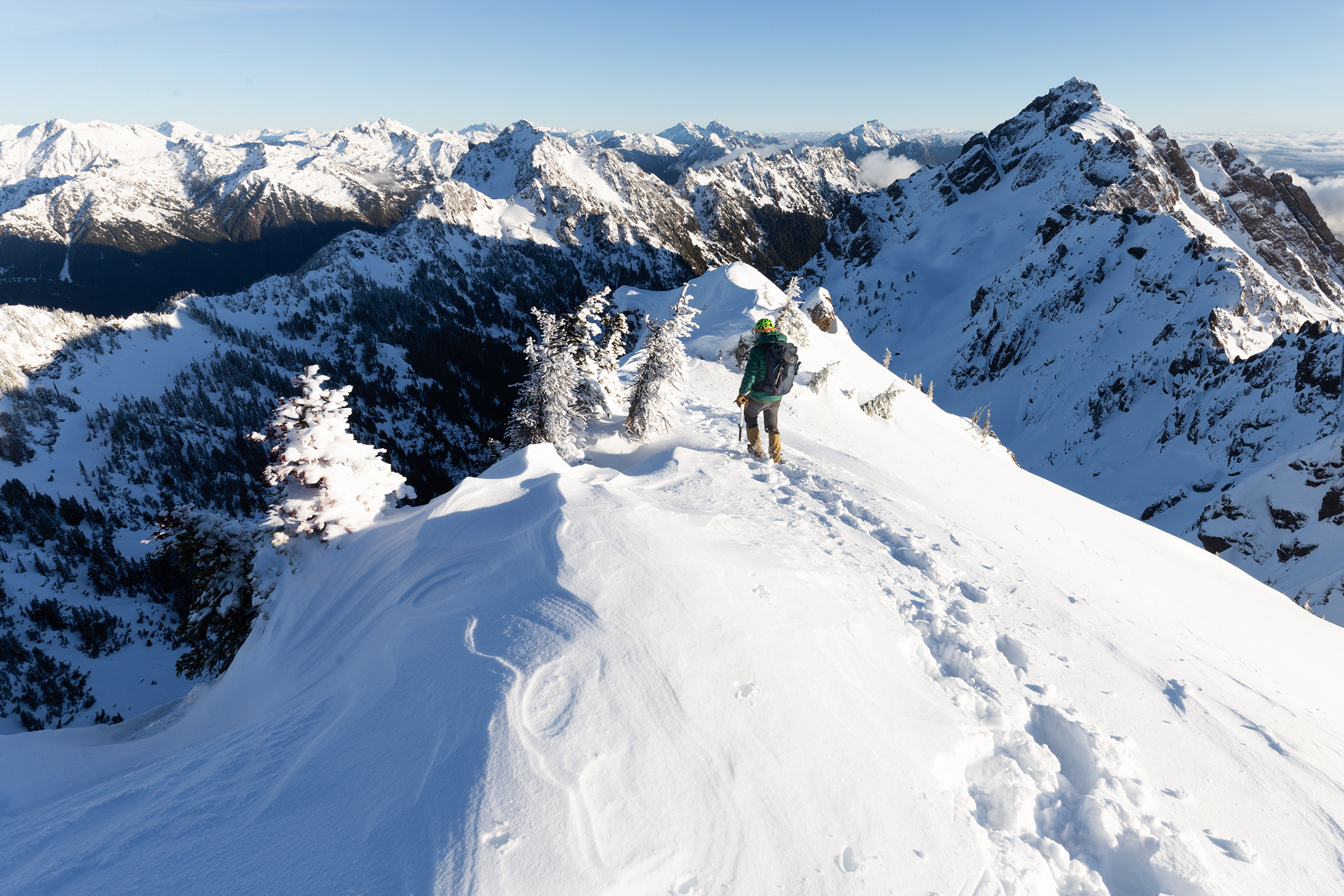 On the summit of a snowy Mt. Ellinor in Olympic National Forest