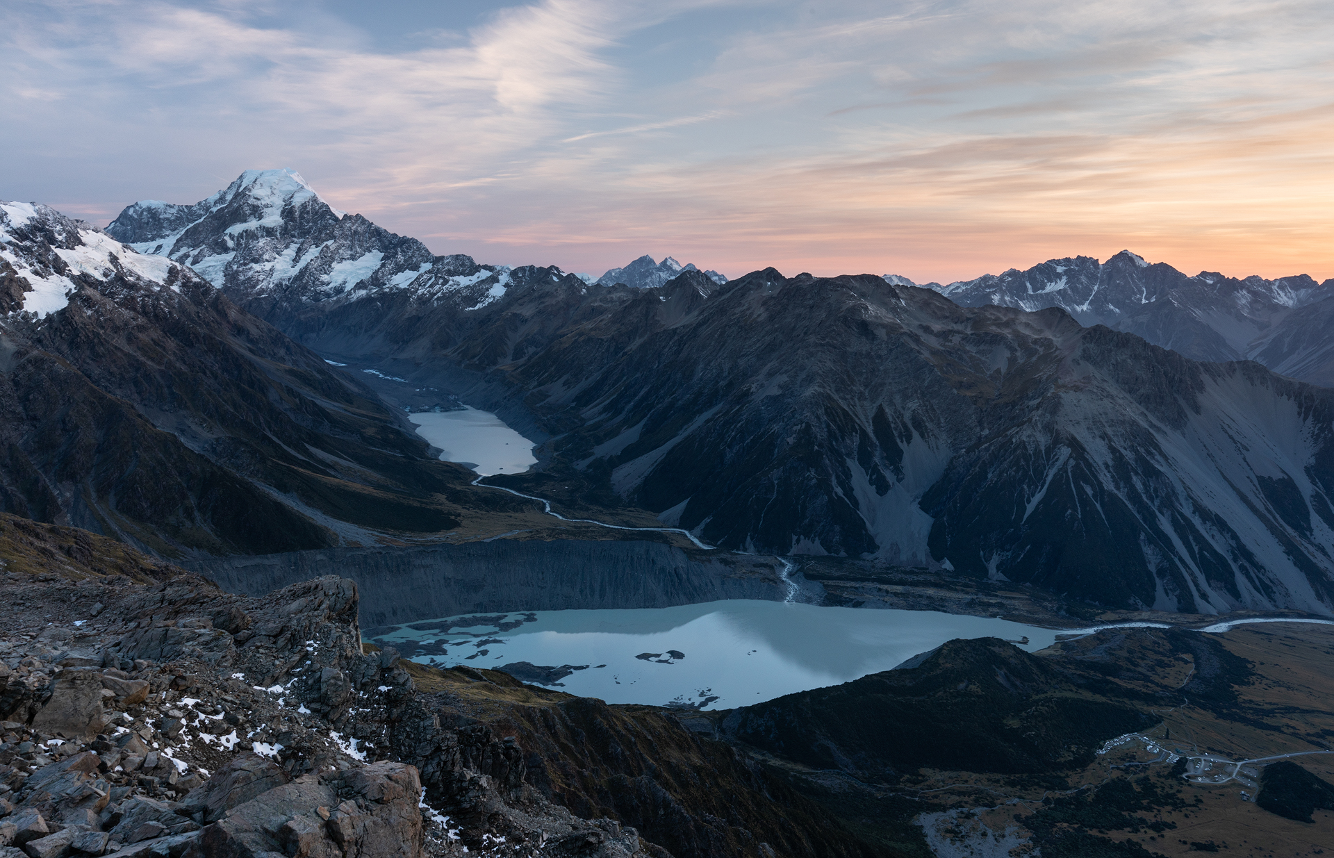 Blue hour from our camp near Mueller Hut in Aoraki/Mount Cook National Park
