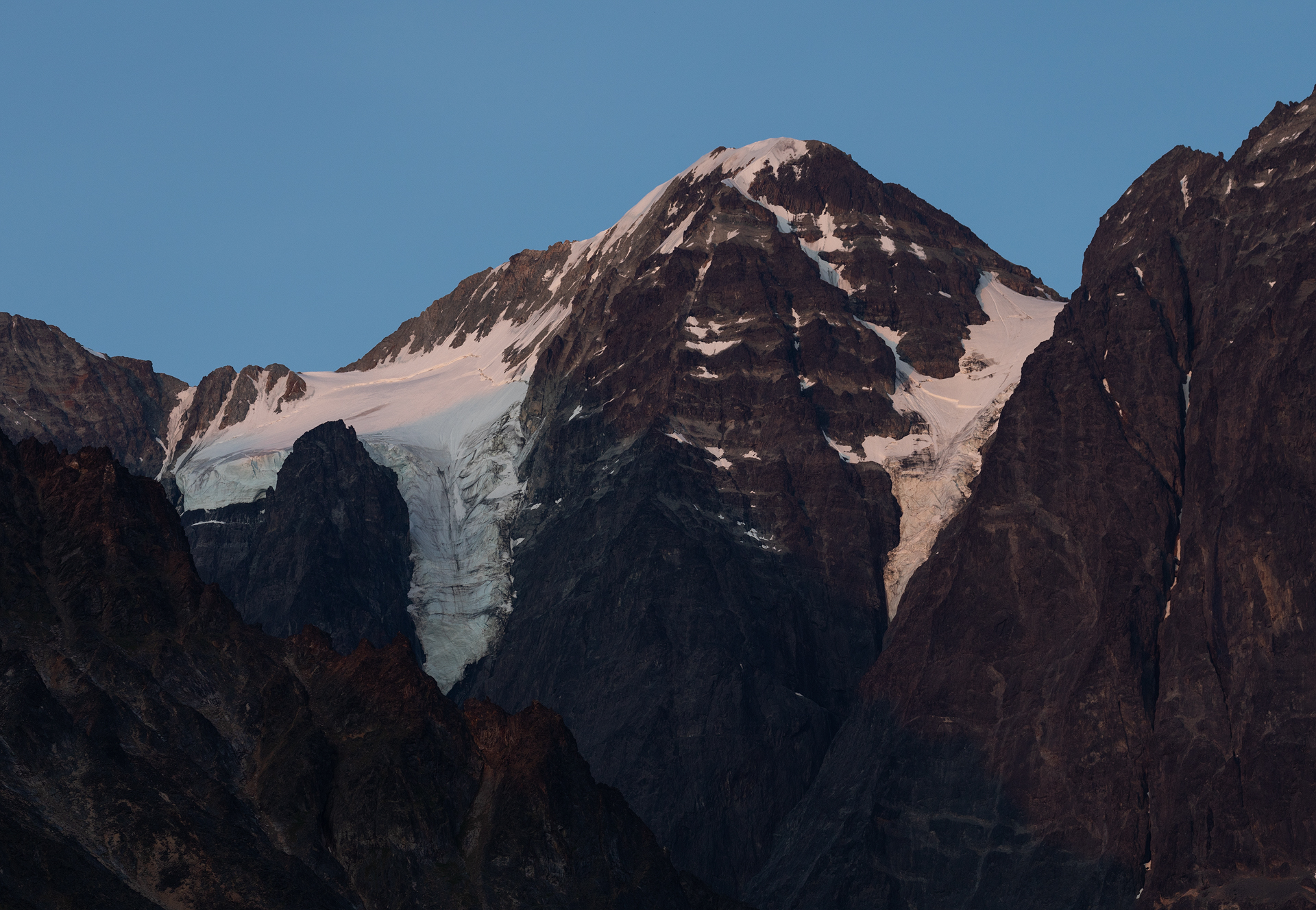 Glaciers on Telaquana Mountain at blue hour