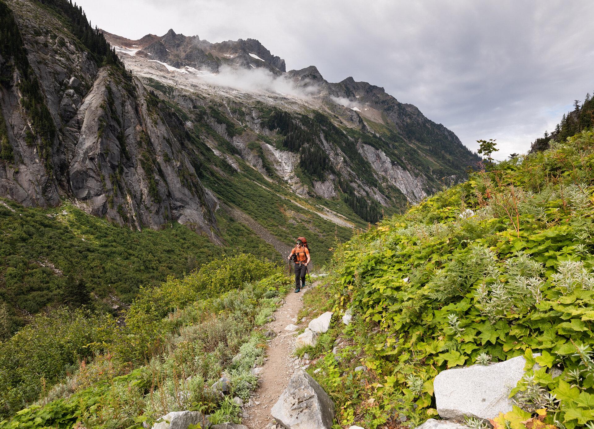 Alex hiking up from Hannegan Trailhead