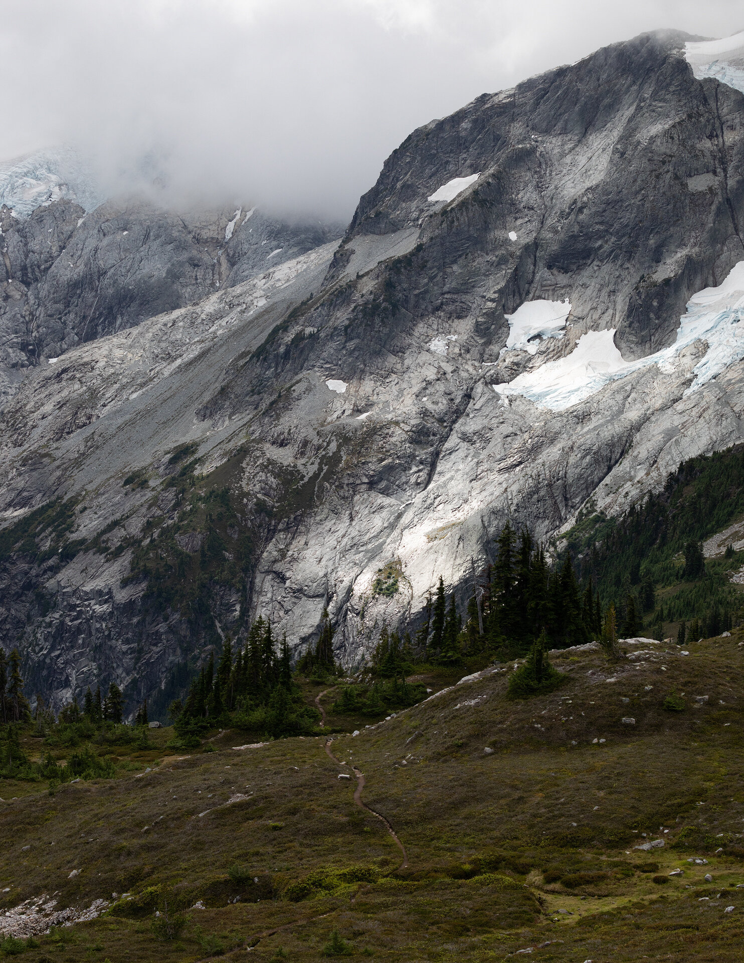 Whatcom Peak and an obscured Challenger Glacier seen from the trail