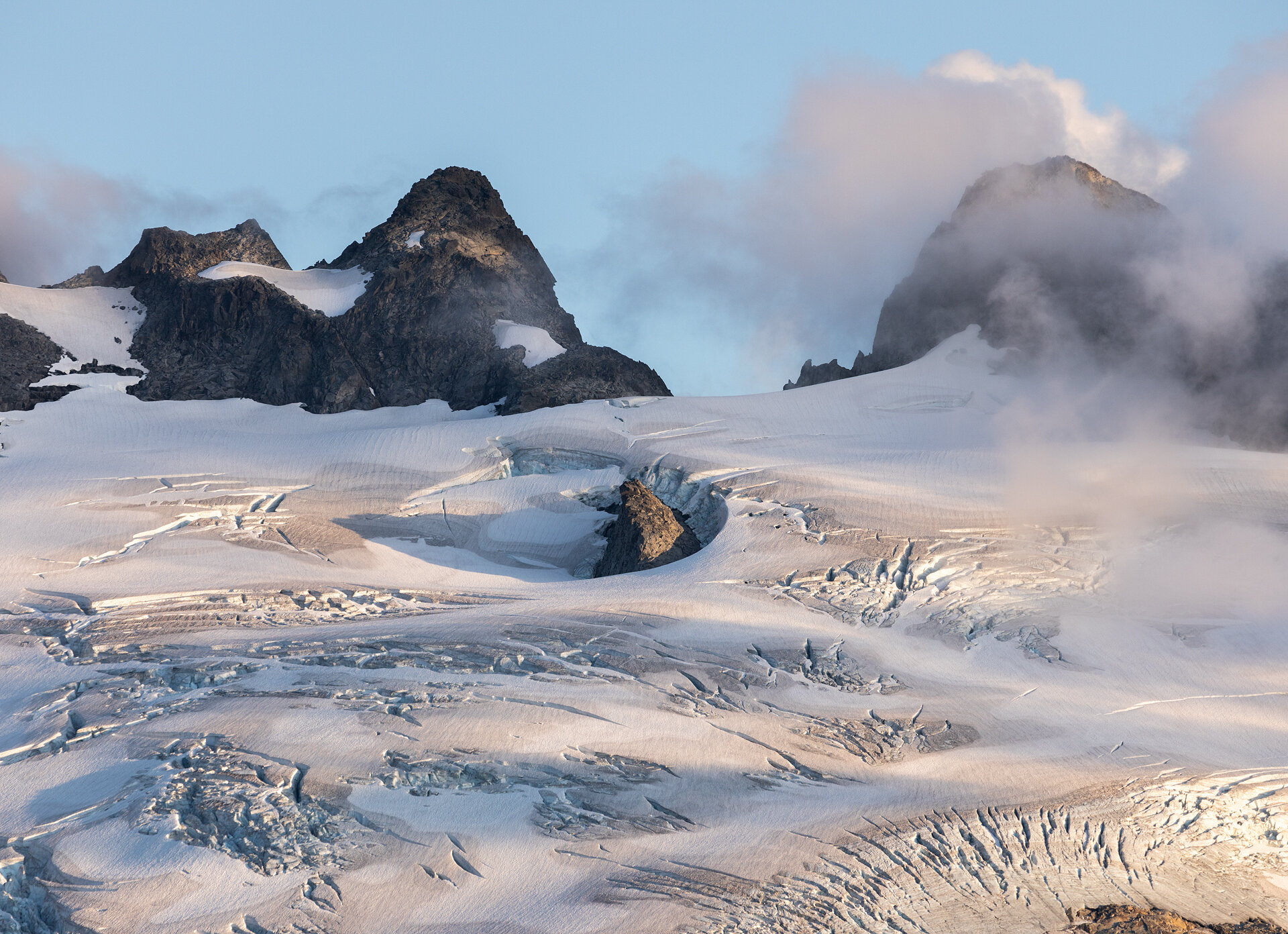 Mount Challenger and the Challenger Glacier at sunset