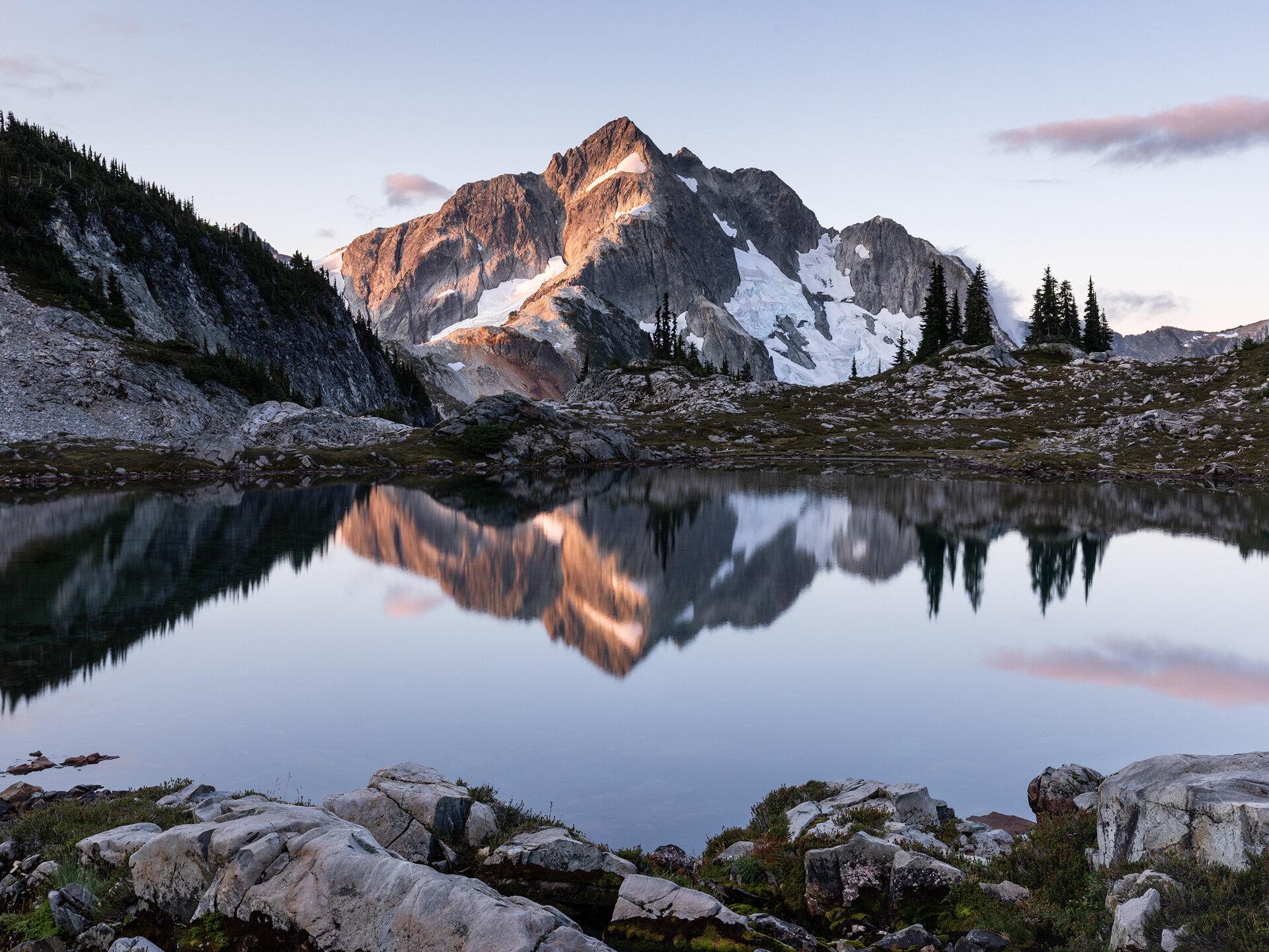 Whatcom Peak reflected in the lake at sunrise