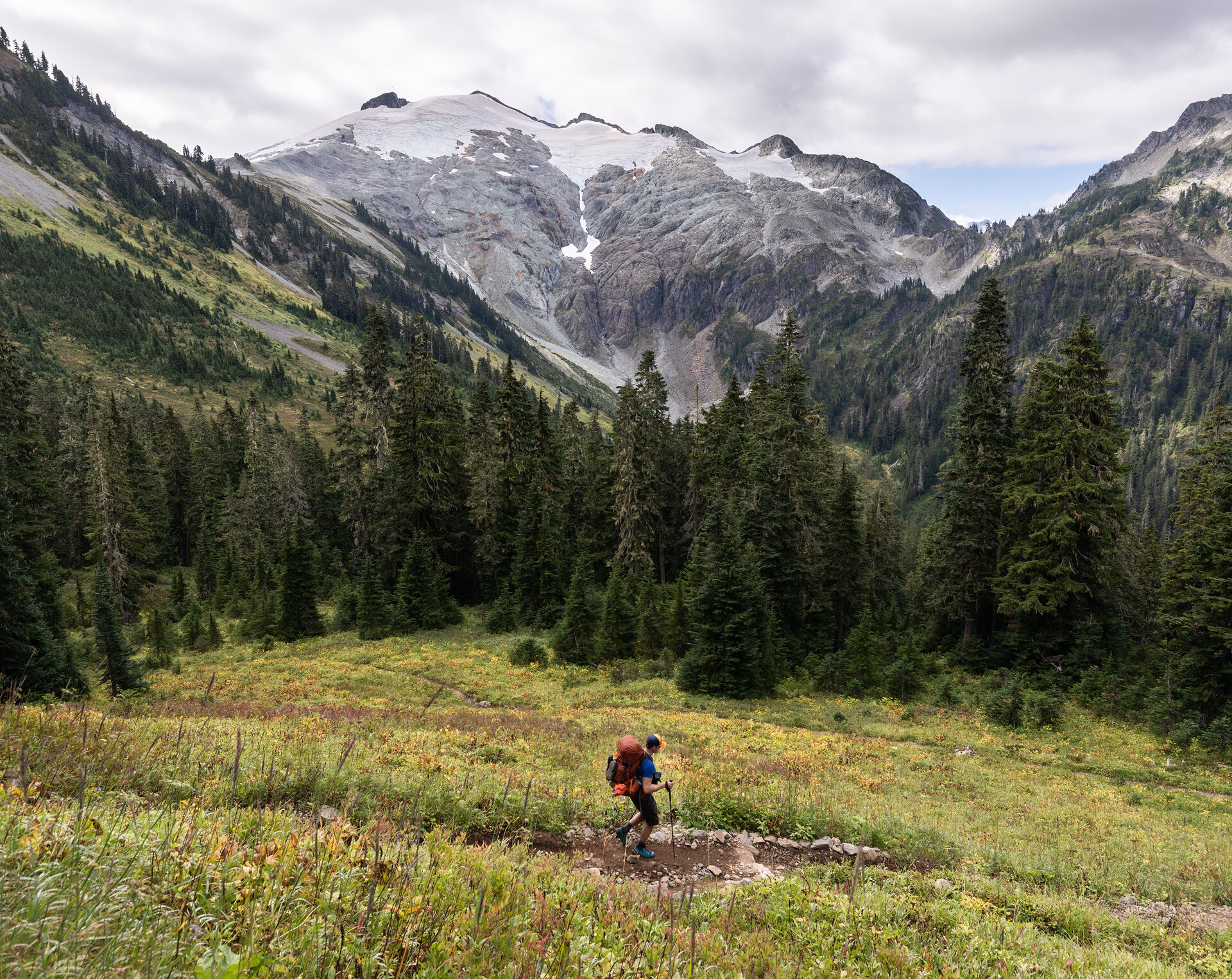 Hiking down from Hannegan Pass with Ruth Mountain in the background