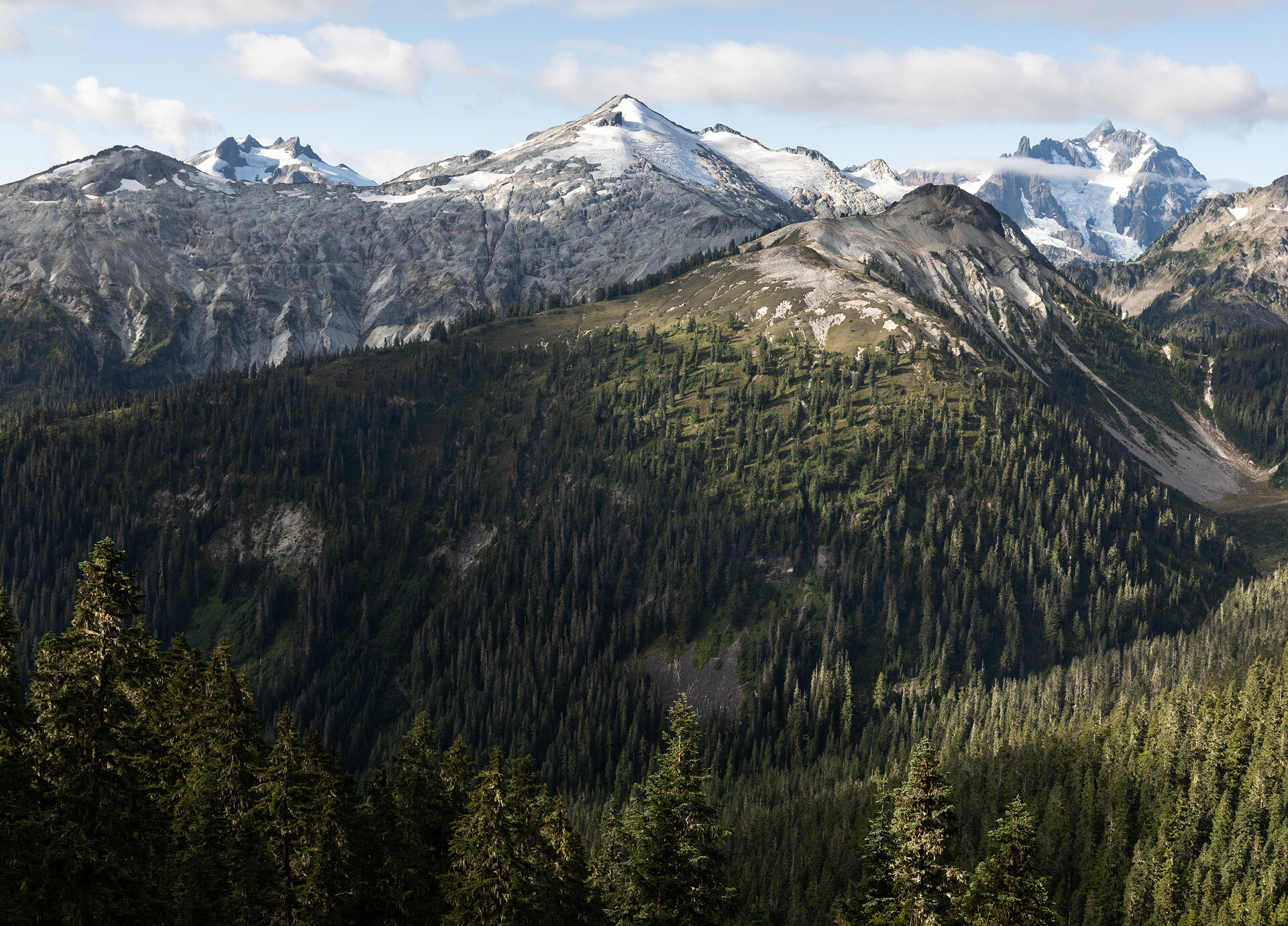 Icy Peak, Ruth Mountain, and Mount Shuksan seen on the trail from Silesia Camp to Hannegan Pass