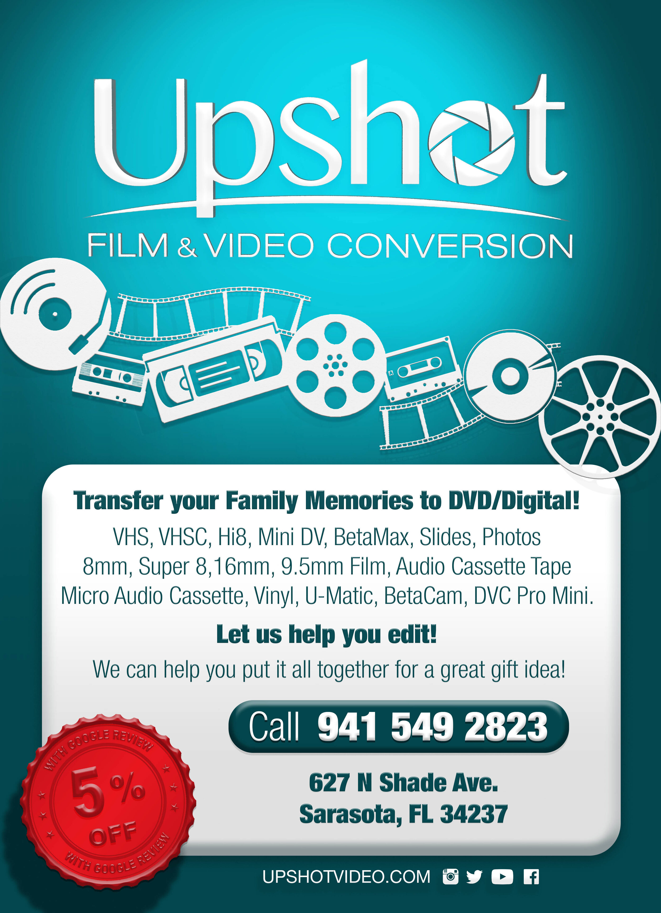 Upshot Video Productions Vhs To Dvd In House Video Transfer Service Based In Sarasota Fl Also Super 8 To Dvd 8mm To Dvd Hi8 To Dvd Mini Dv To Dvd