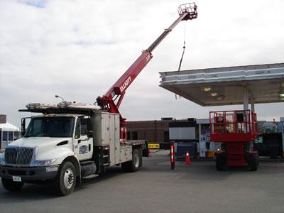 Crane truck at work