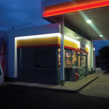Storefront LED cove lighting at night