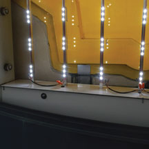 Sign interior with LED strips