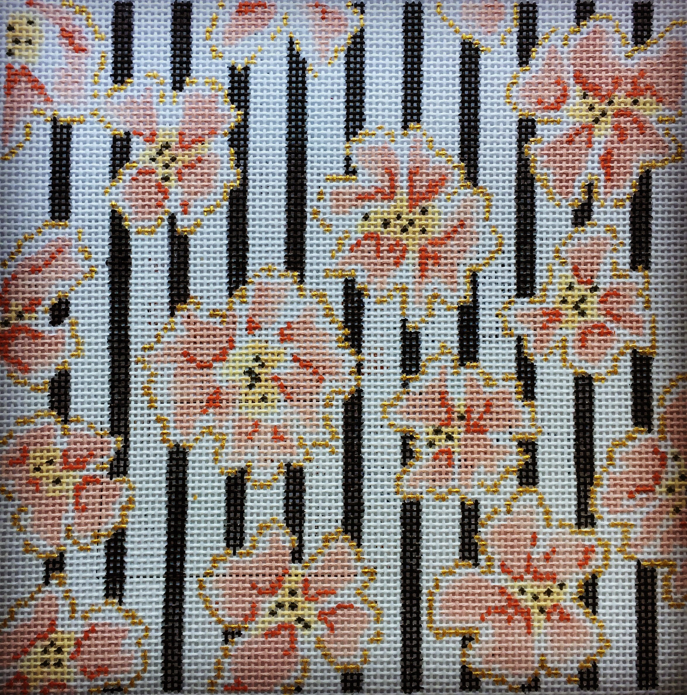 """Coral & Gold Flowers 15F   10""""x10"""" on 13 mesh"""