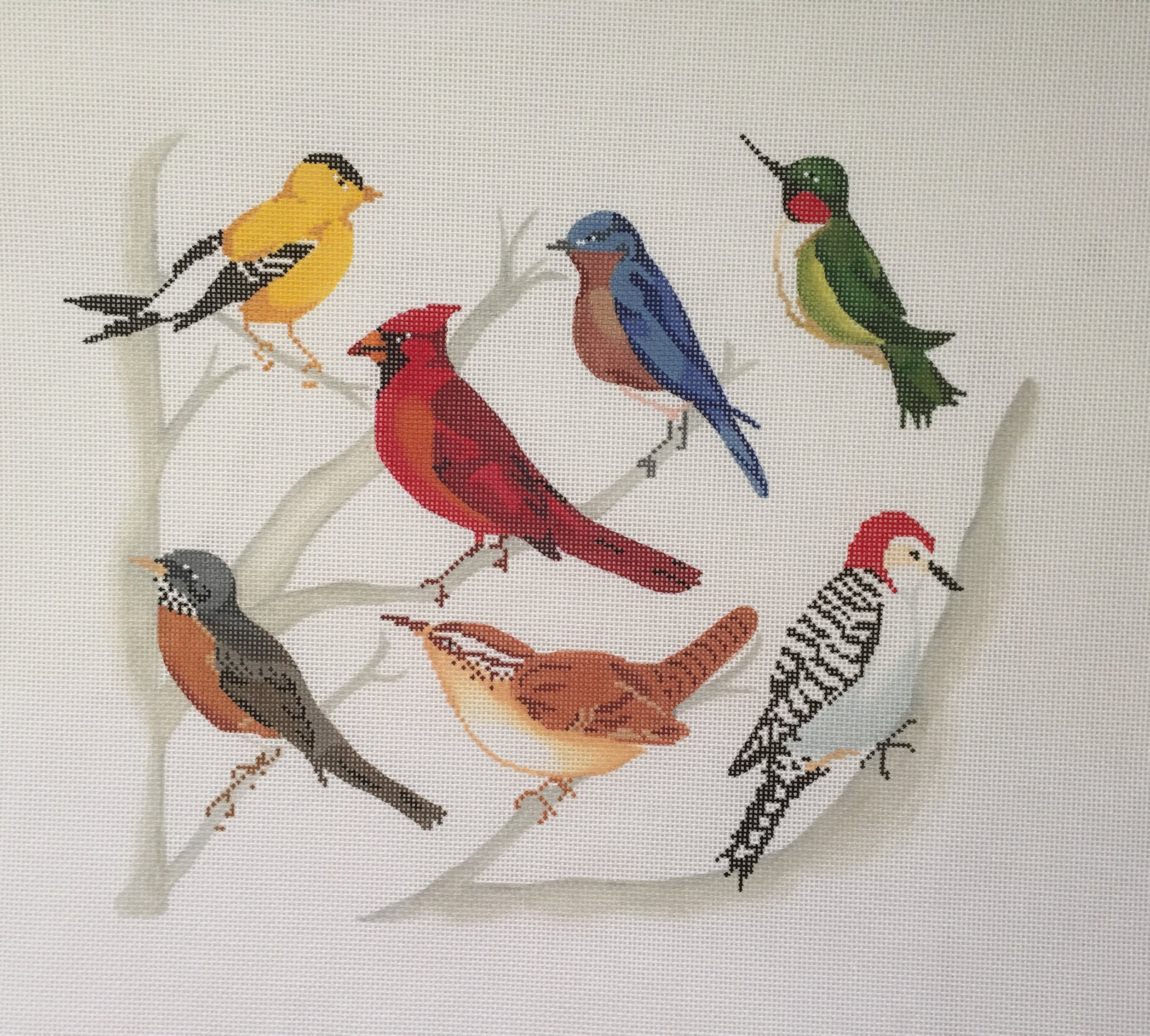 "Ohio Birds TPS001   9.5""x12"" on 18 or 13 mesh"