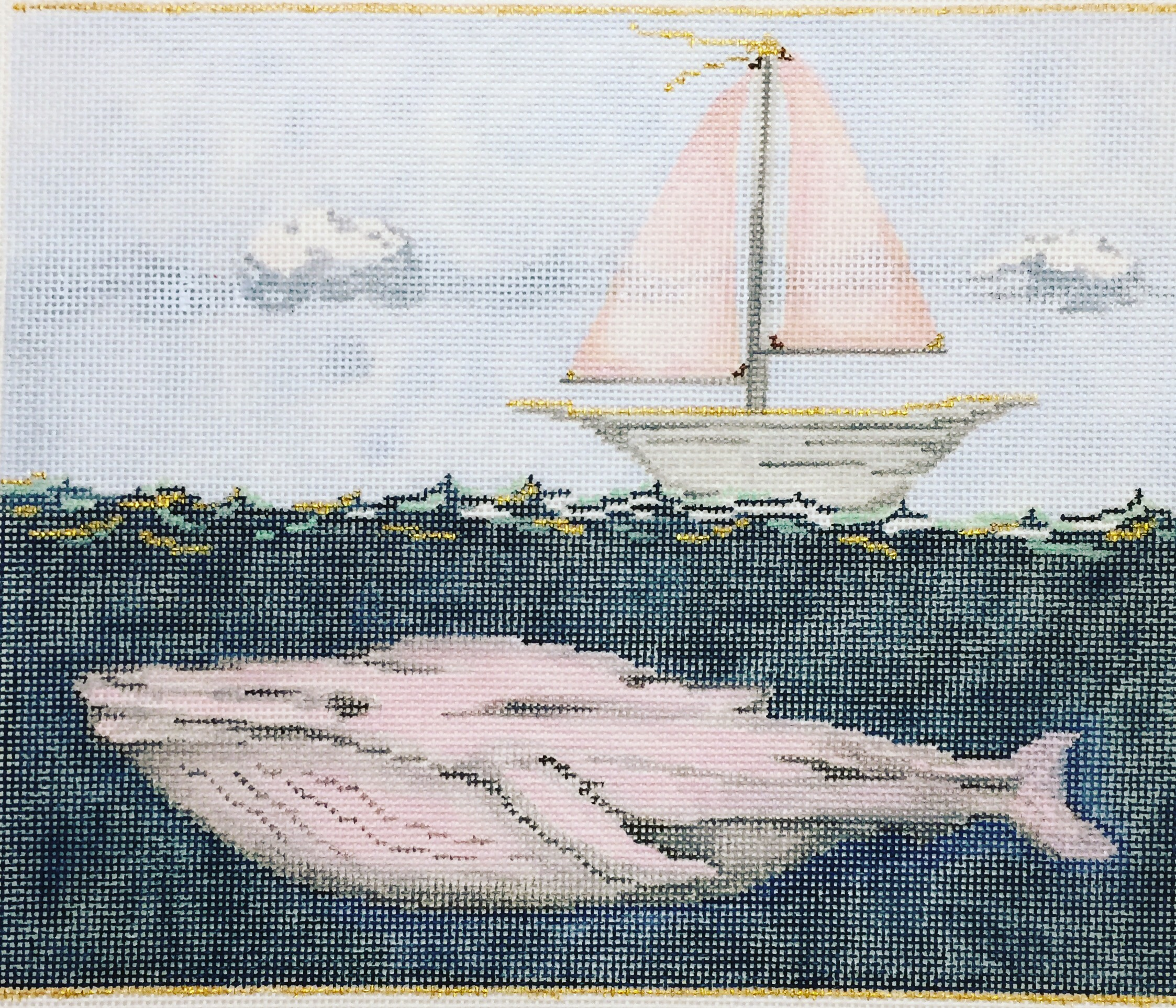 """Pink Whale & Sailboat 15S   7.5""""x9"""" on 18 mesh"""