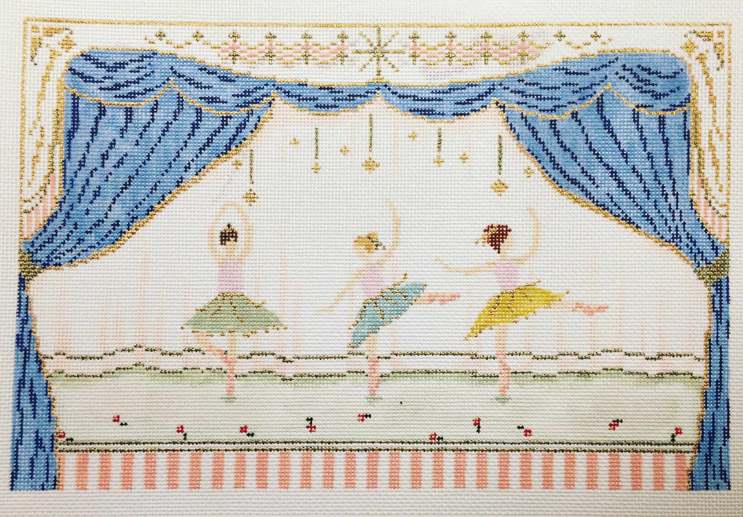 "Ballerinas 15DD   11""x7.25"" on 18 mesh"