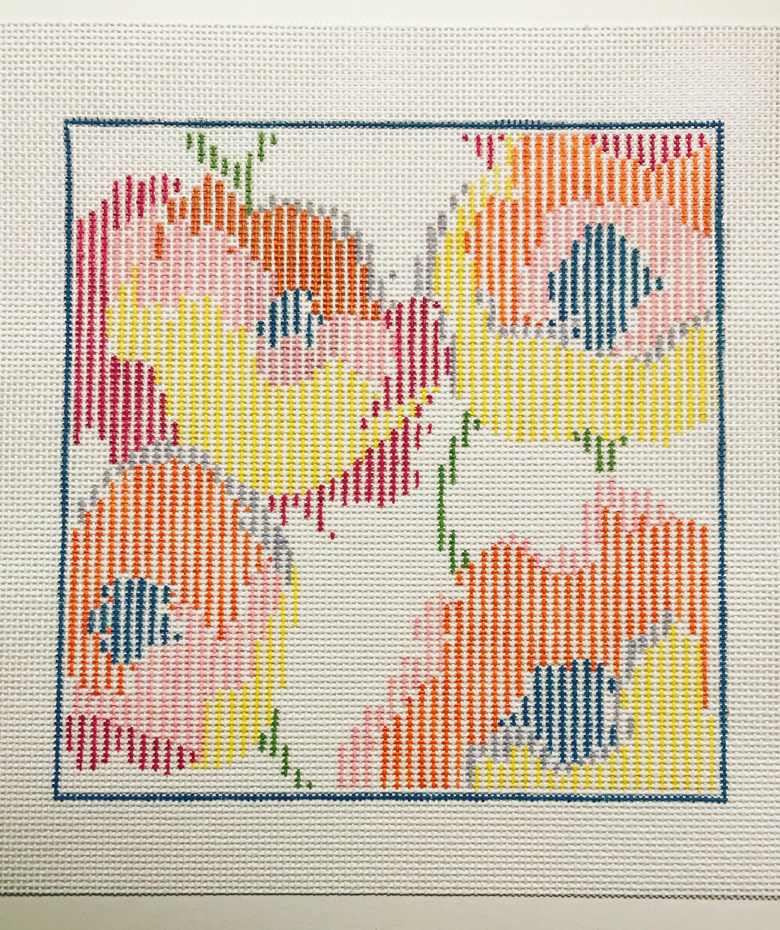 "Citrus-striped Flowers 15LL   6"" x 6.5"" on `18 mesh"