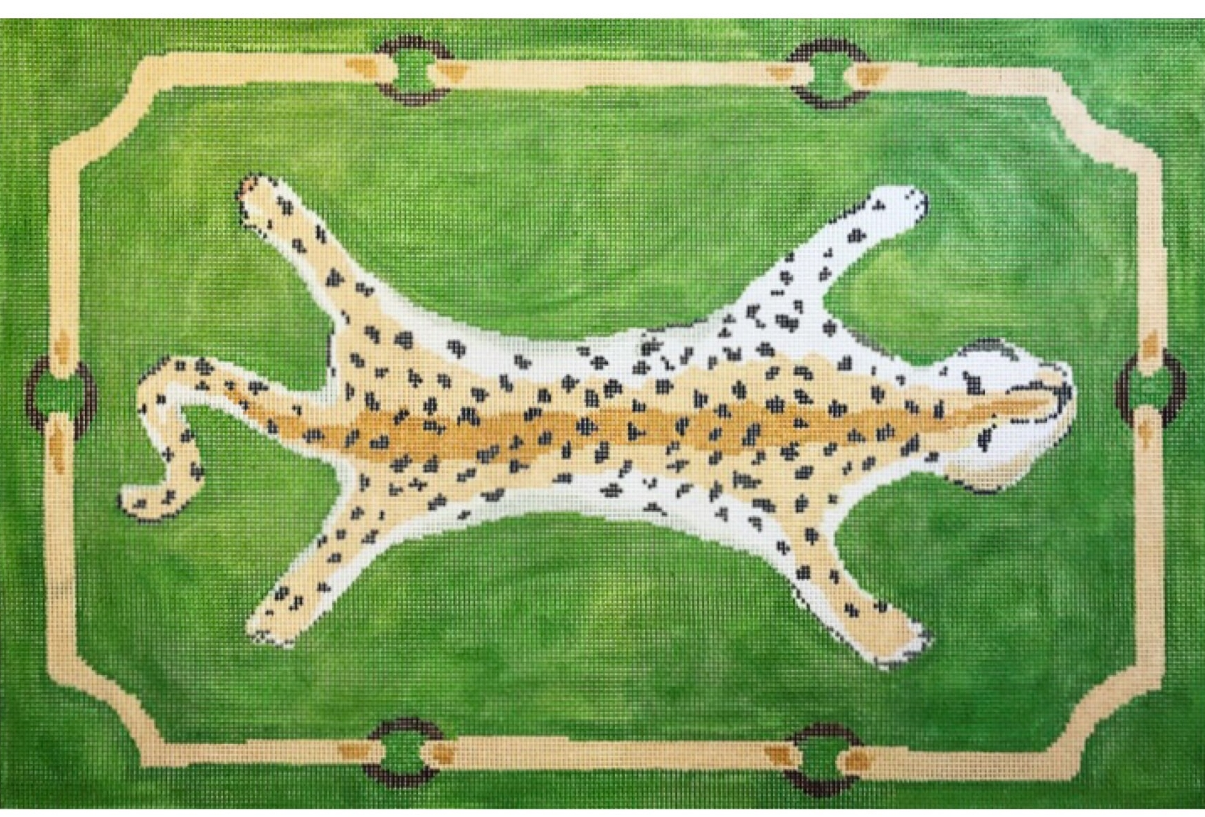"Leopard on Green DG-2D-G   19"" x 13"" on 13 mesh"