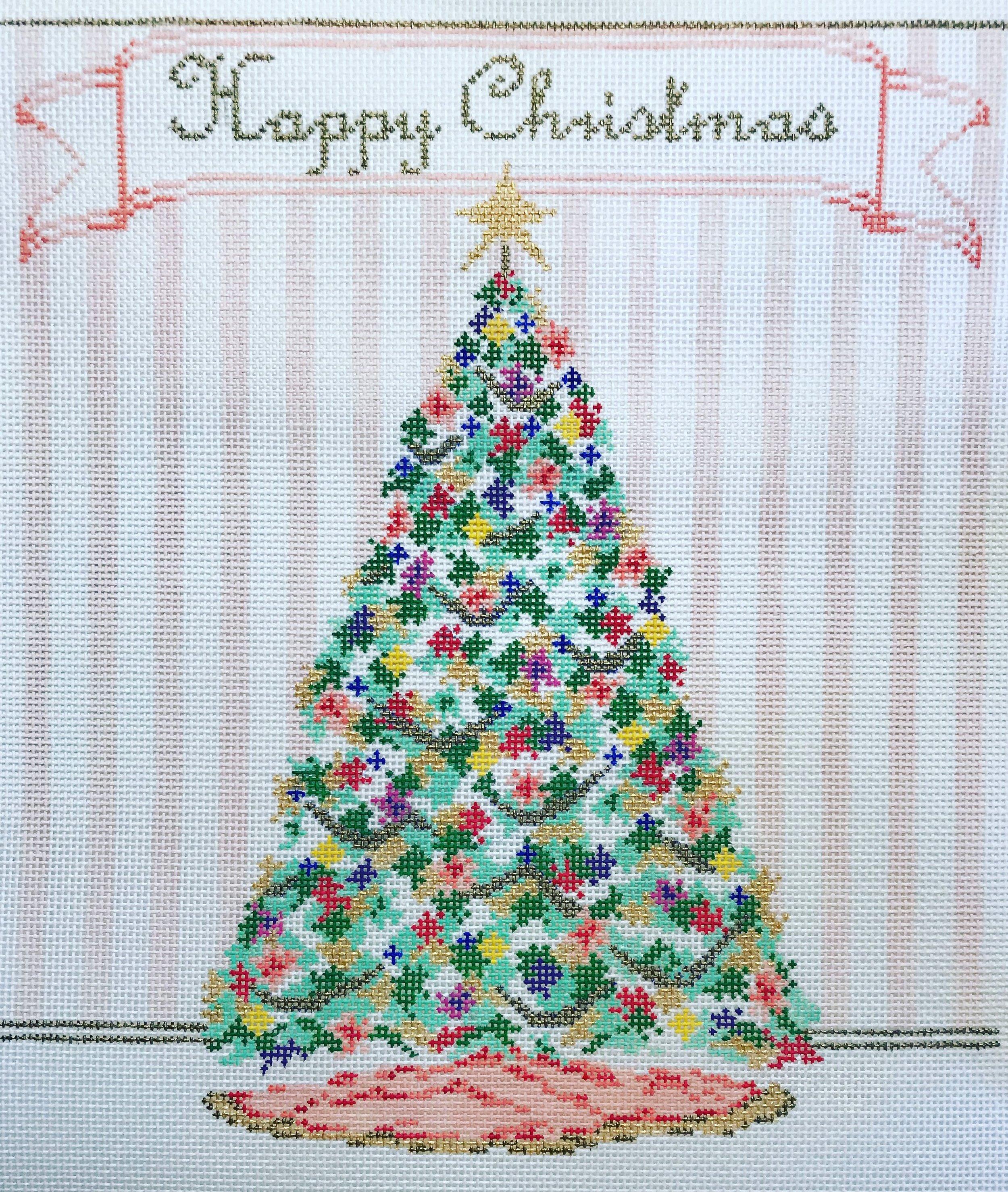 "Happy Christmas 15TT   9"" x 9.5"" on 18 mesh"