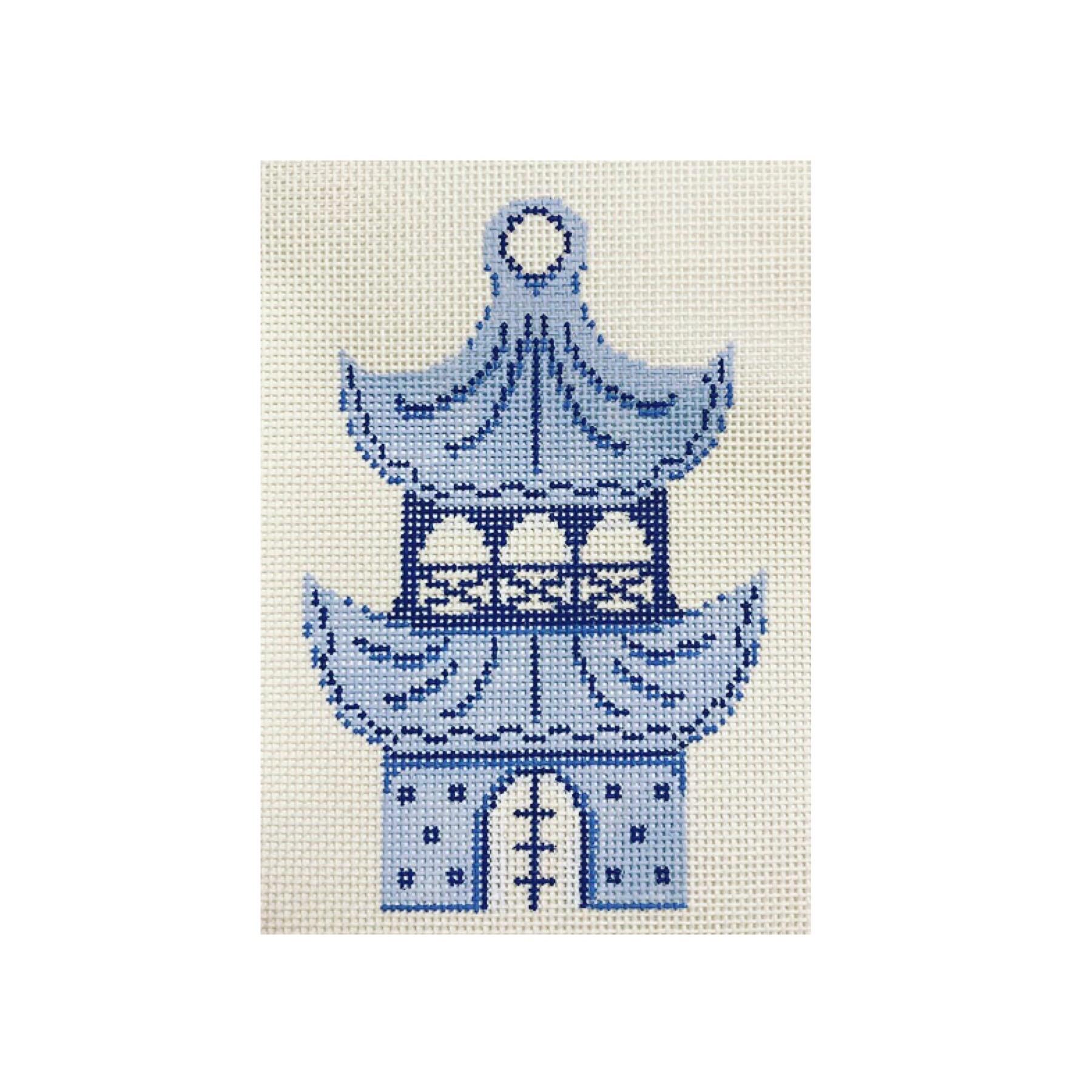 "Pagoda Ornament DM-1A  5"" x 3"" on 18 mesh"