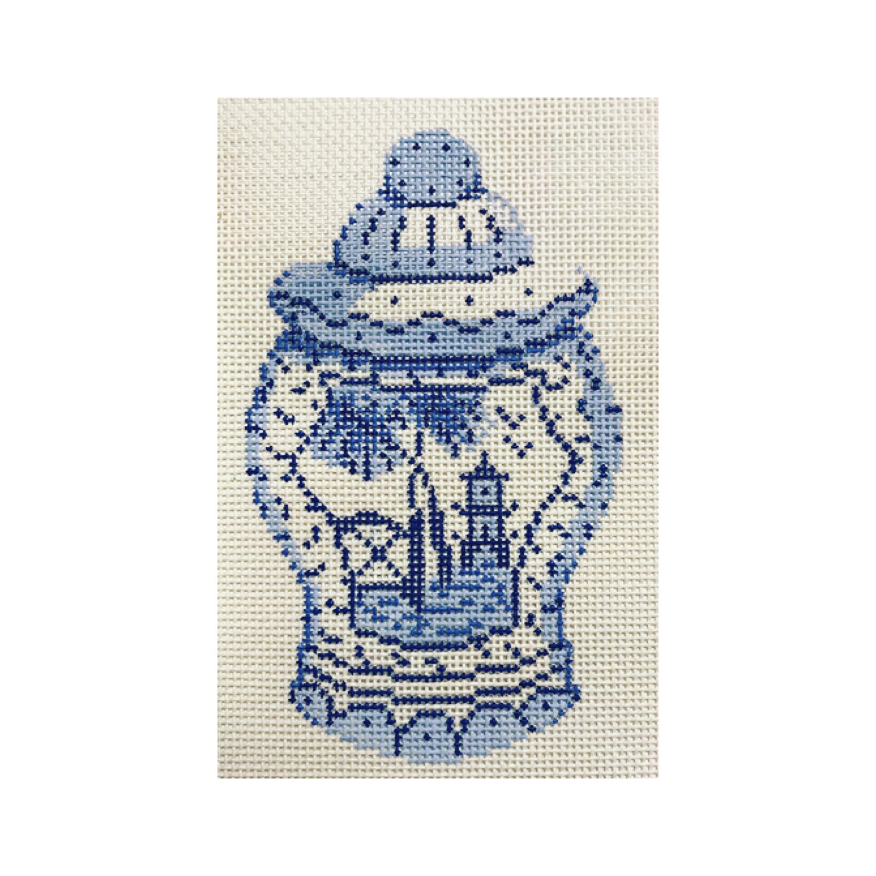 "Ginger Jar Ornament DM-1C  5"" x 3"" on 18 mesh"