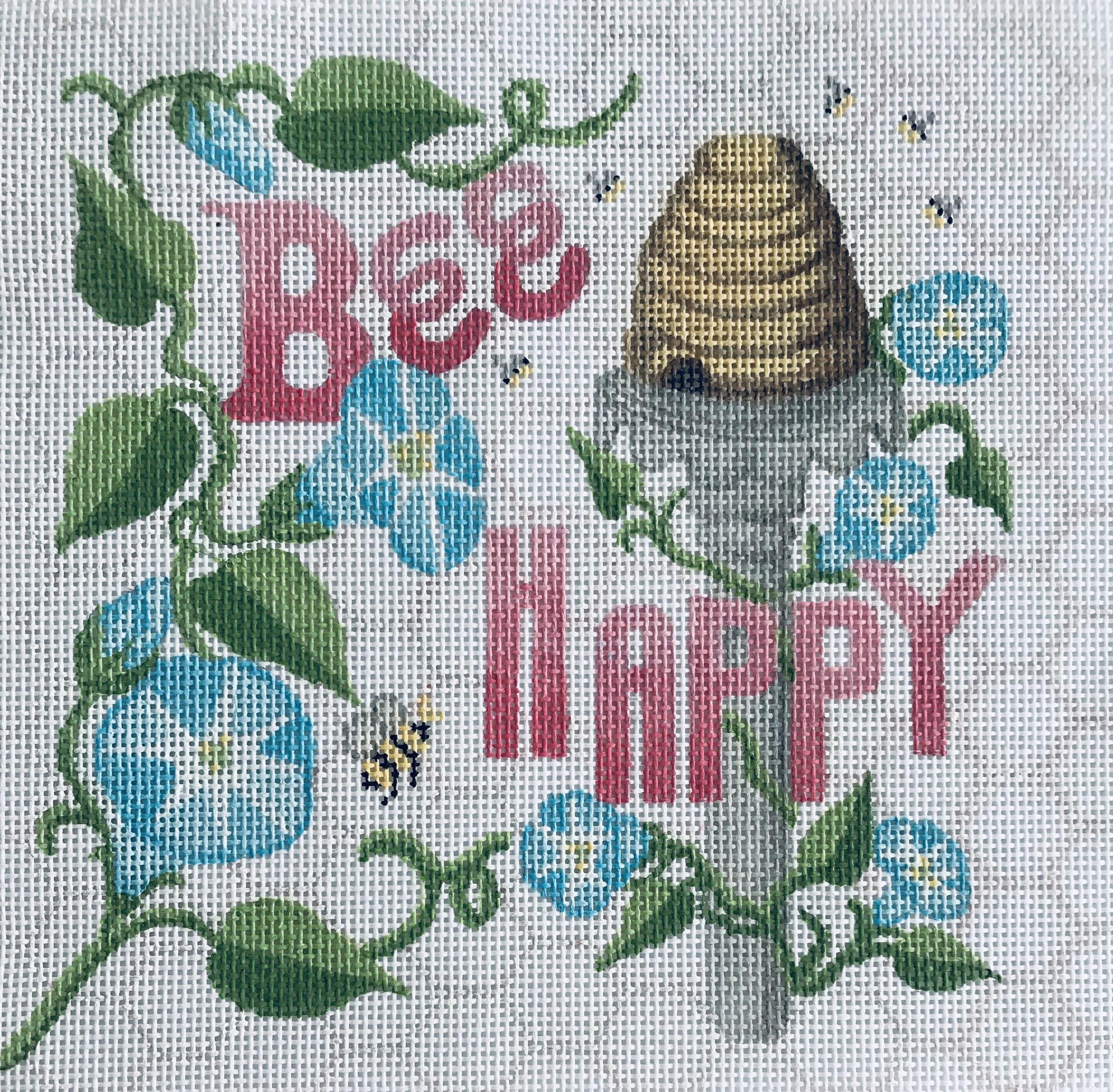 """Bee Happy TSG14   8"""" x 8"""" on 13 mesh"""