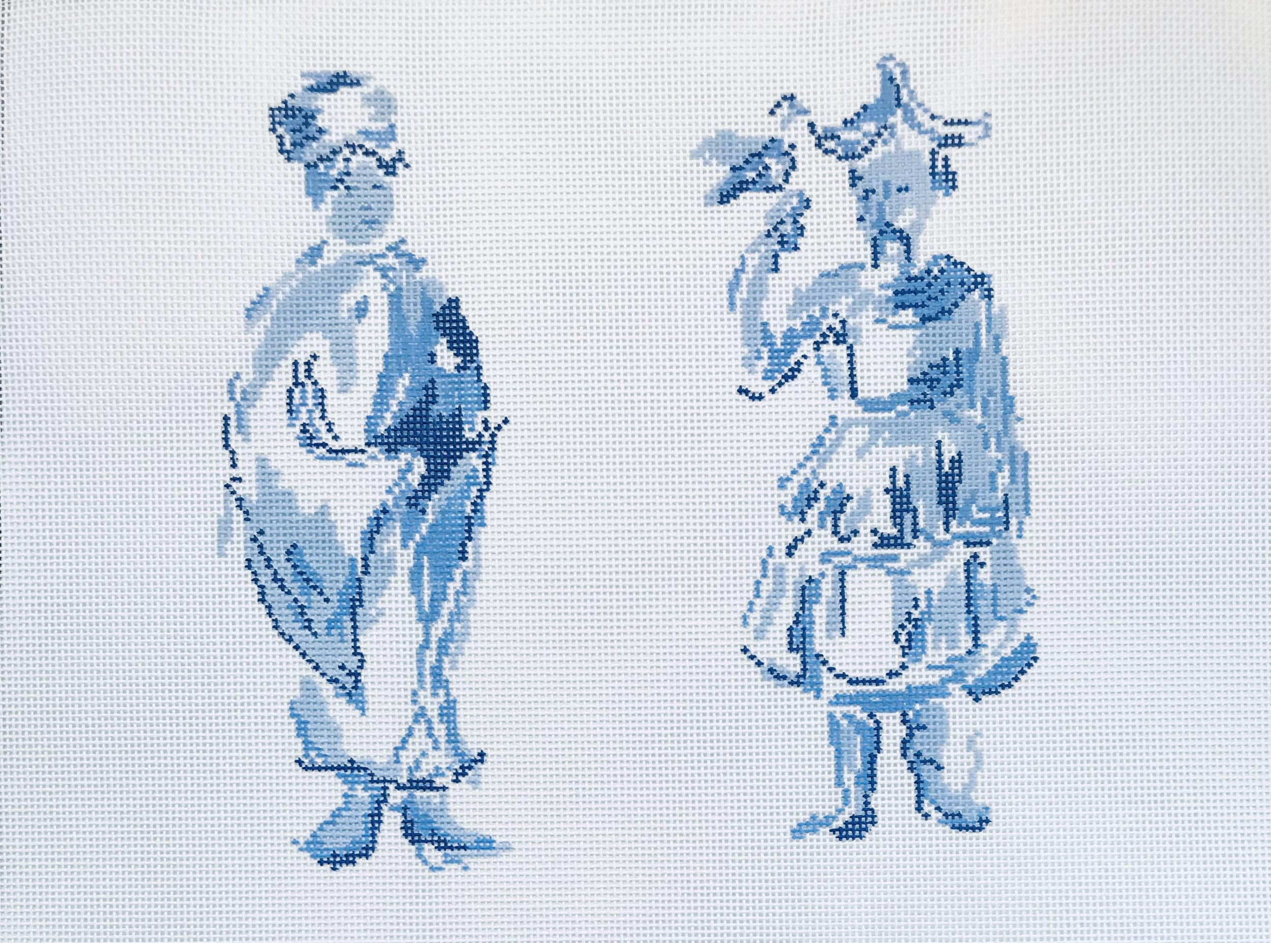 "Mandarin Woman & Man DG-2I   7"" x 7"" on 18 mesh"
