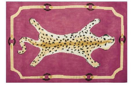 "Leopard on Pink DG-2D-P   19"" x 13"" on 13 mesh"