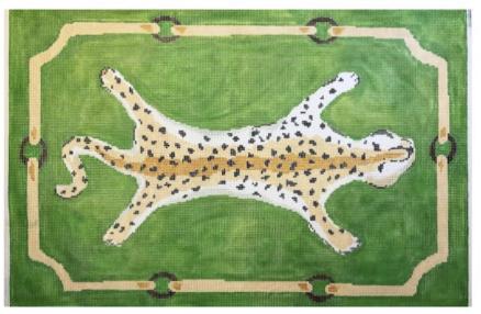 "Leopard Clutch on Green DG-3A-G   11.5"" x 8"" on 18 mesh"