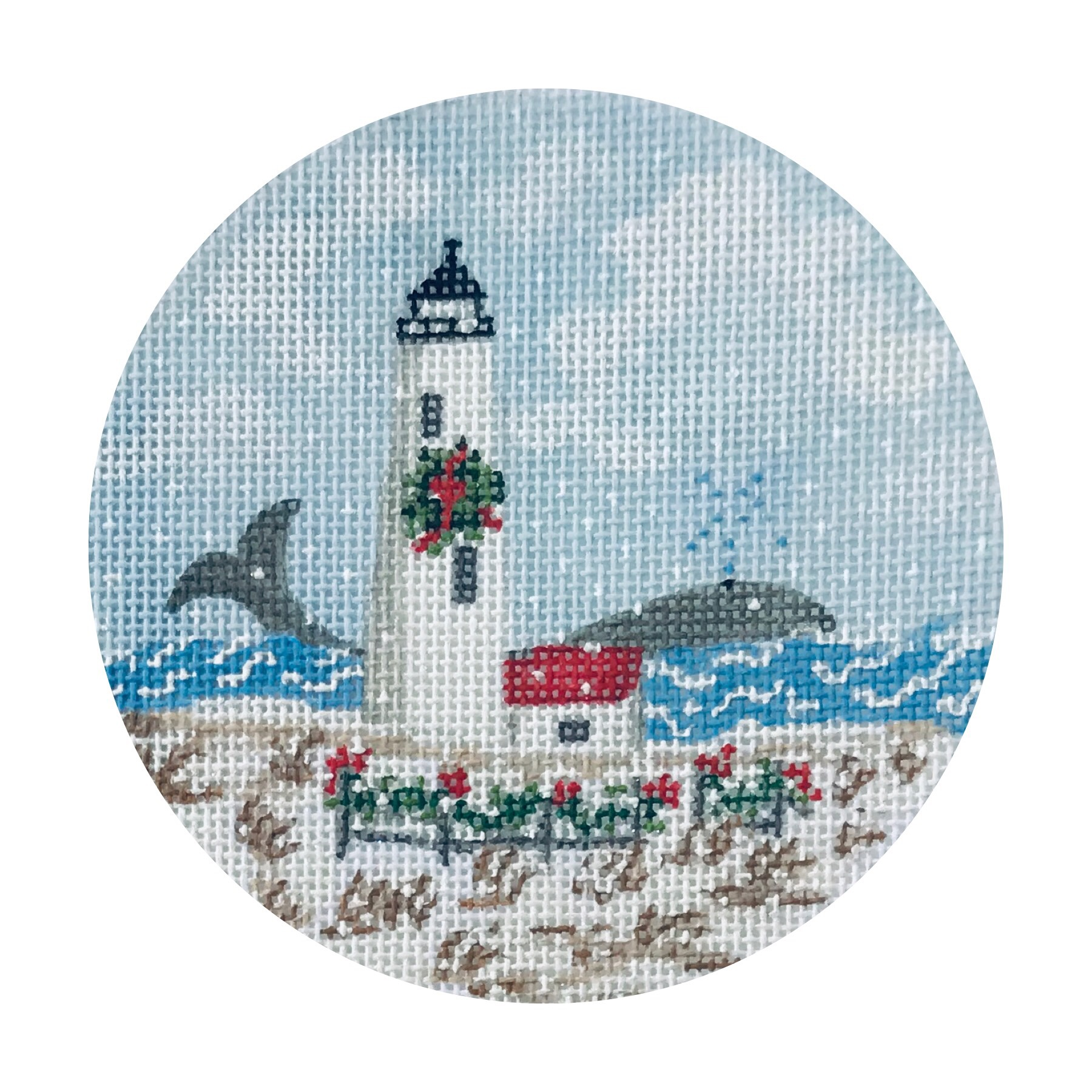 "Great Point Lighthouse TSG25-G   4"" round on 18 mesh"