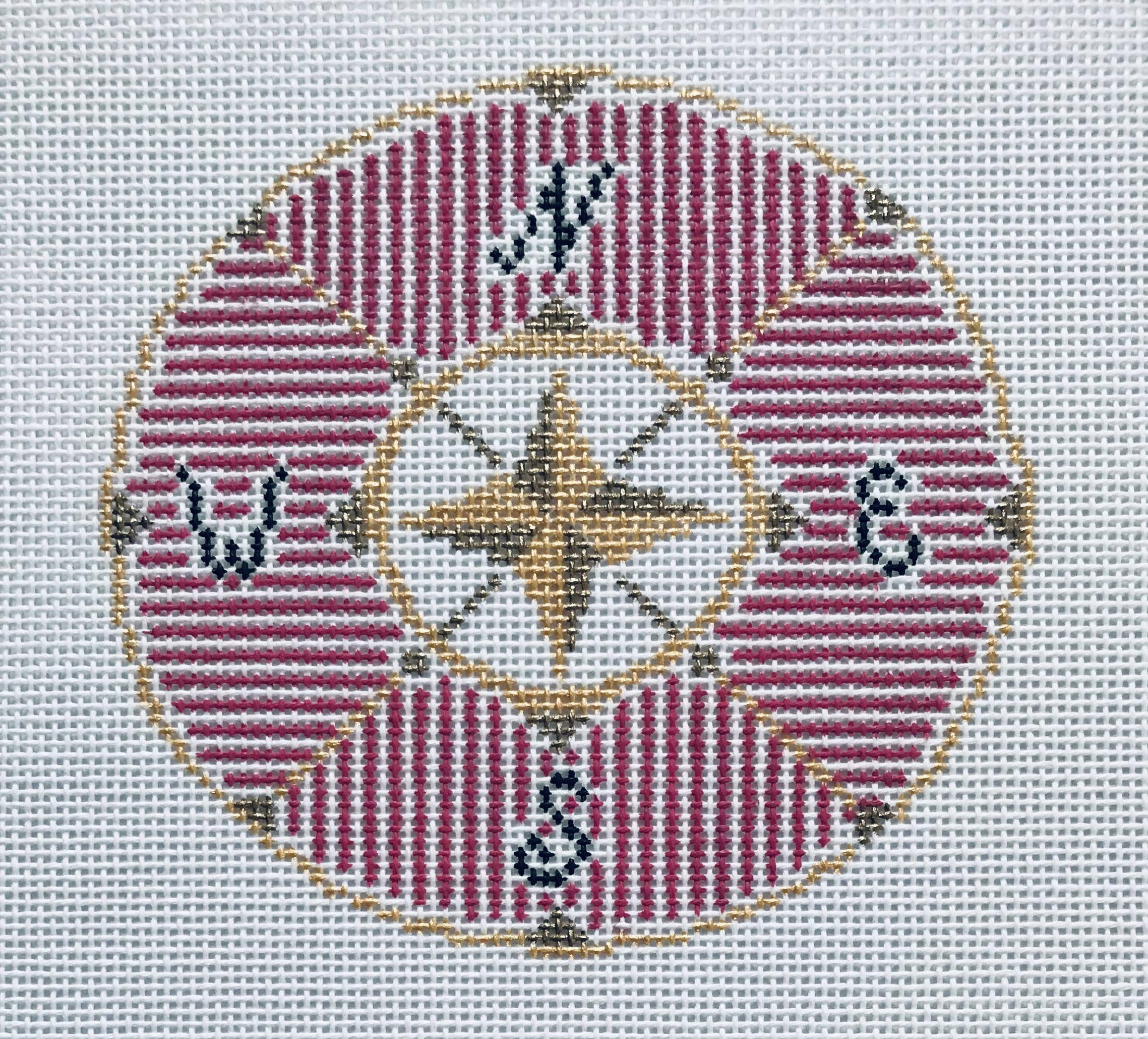 "Compass in Pink 18KK-P   4"" round on 18 mesh"