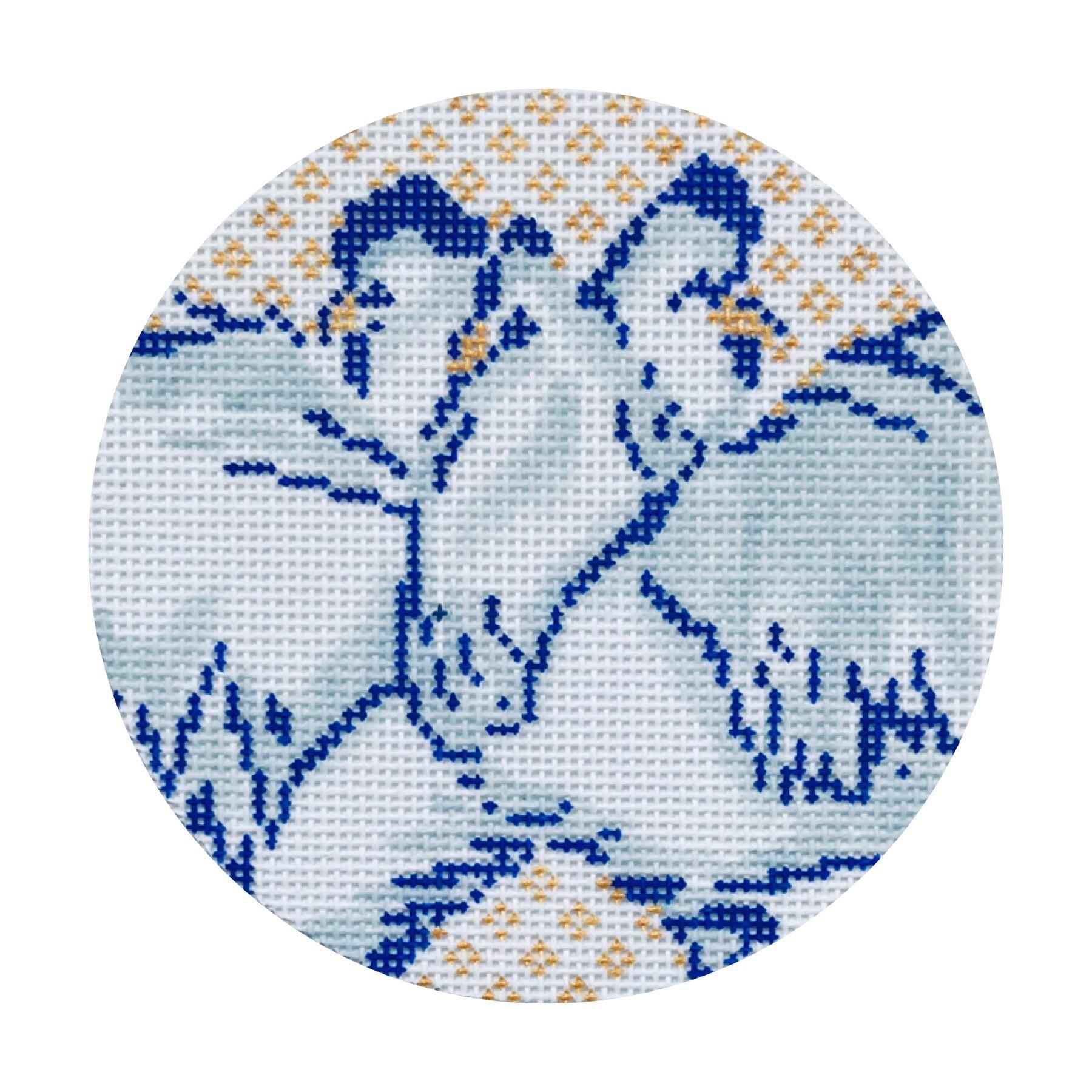 """Three French Hens 24C   4"""" round on 18 mesh"""