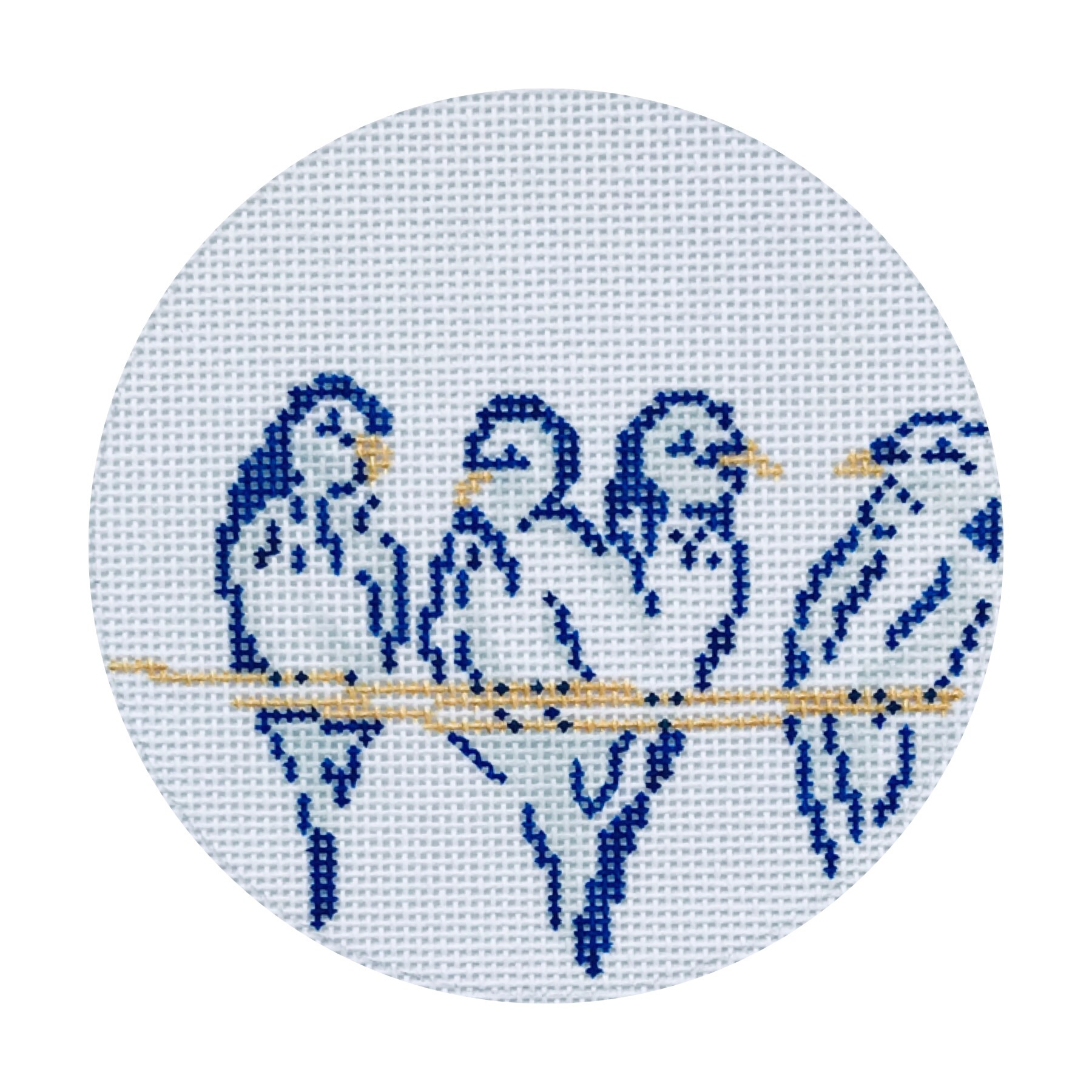 "Four Colly Birds 24D   4"" round on 18 mesh"