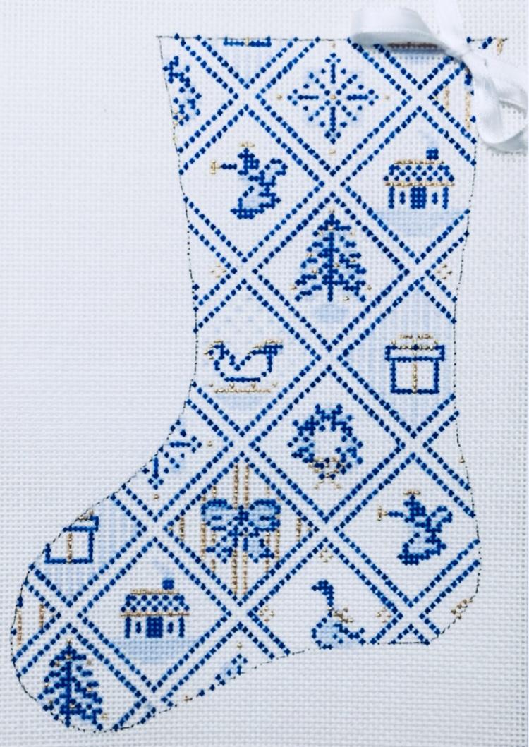 """Blue & White Tiles Mini Stocking 25A   7.5"""" x 5"""" on 18 mesh"""