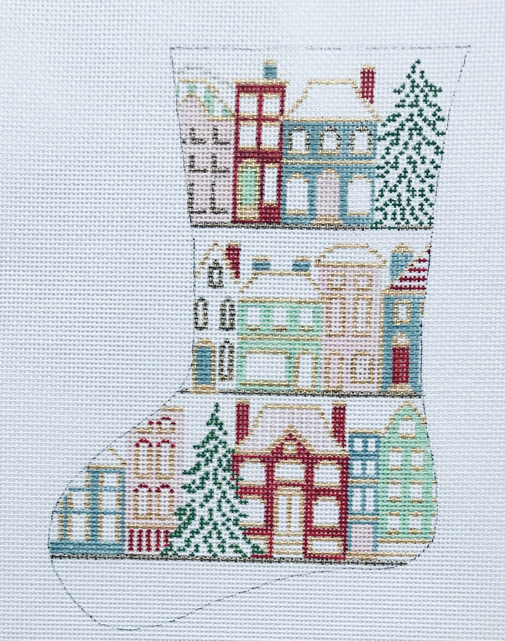 "Christmastime in the City Mini Stocking 25C   7.5"" x 5"" on 18 mesh"